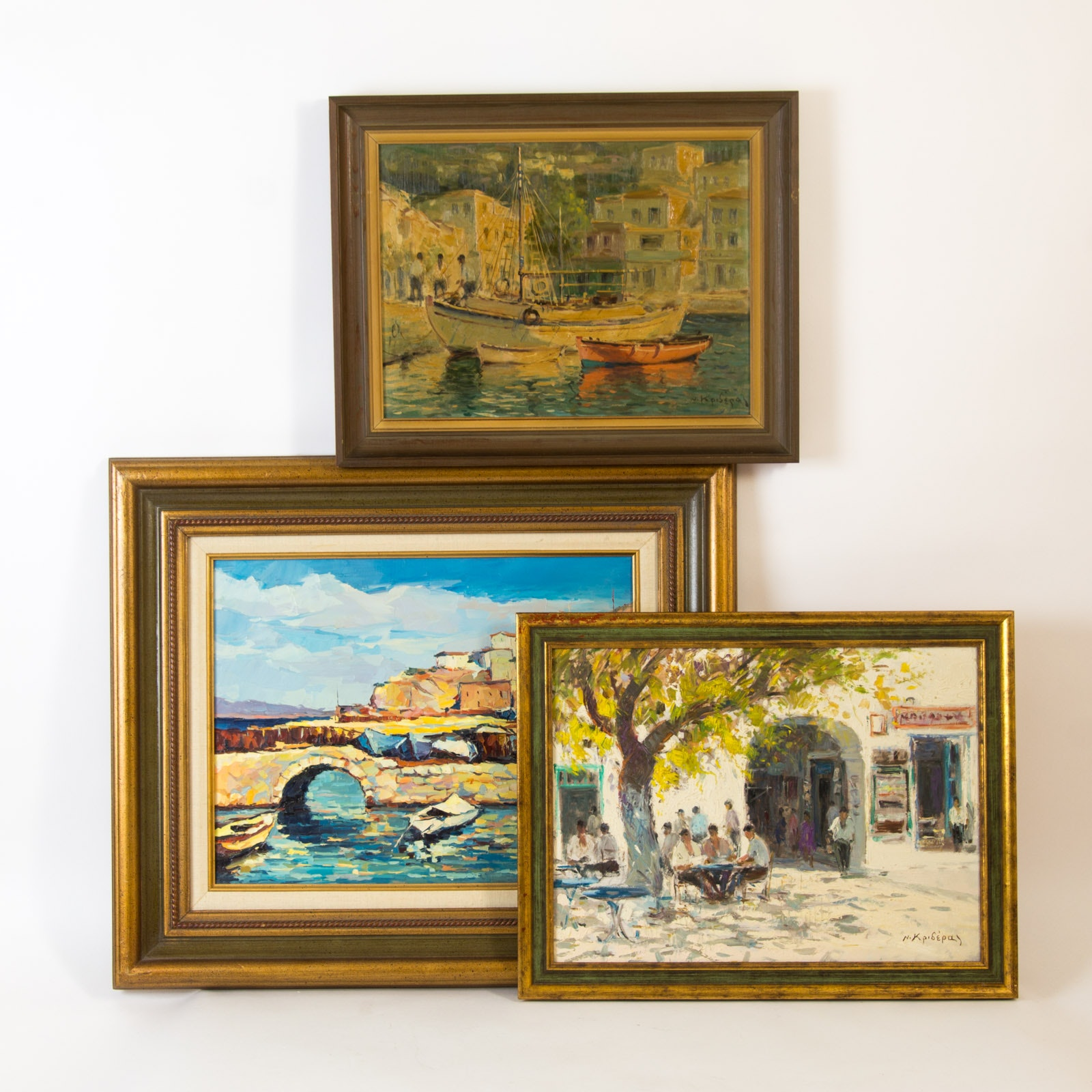 Three Framed Grecian Themed Paintings