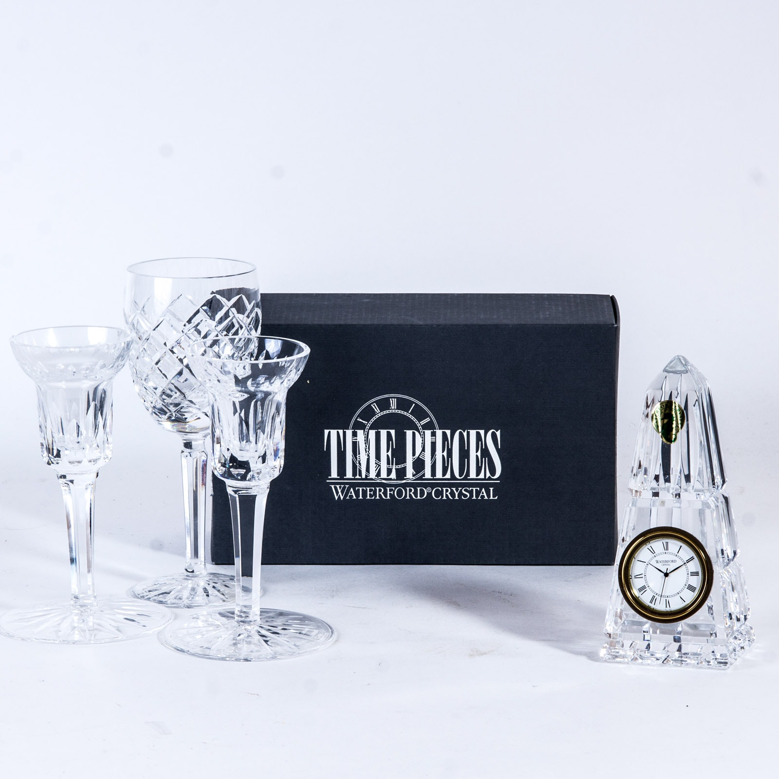 Waterford Crystal Candlesticks, Glass and Clock