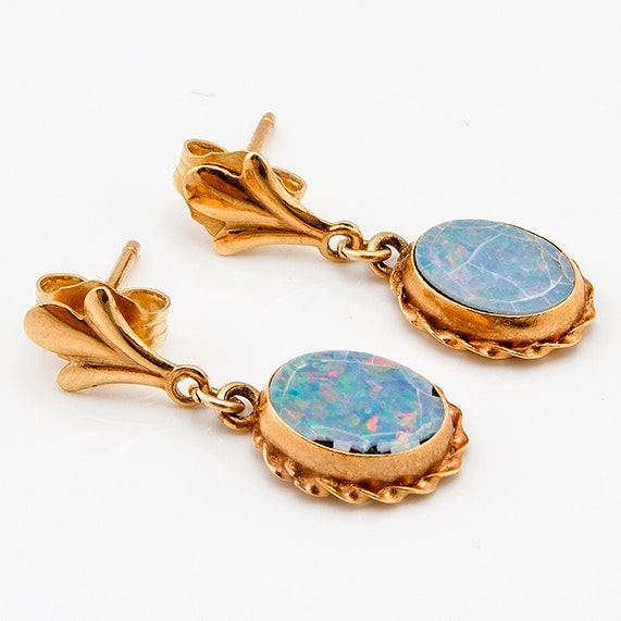 14K Yellow Gold and Opal Earrings