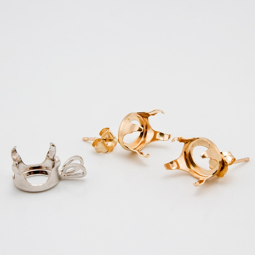 14k Yellow Gold Earring Mounts And White Pendant Mount