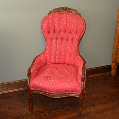 Vintage Victorian Inspired Tufted Armchair