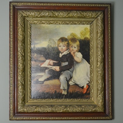 Antique Offset Lithograph Reproduction of Two Children