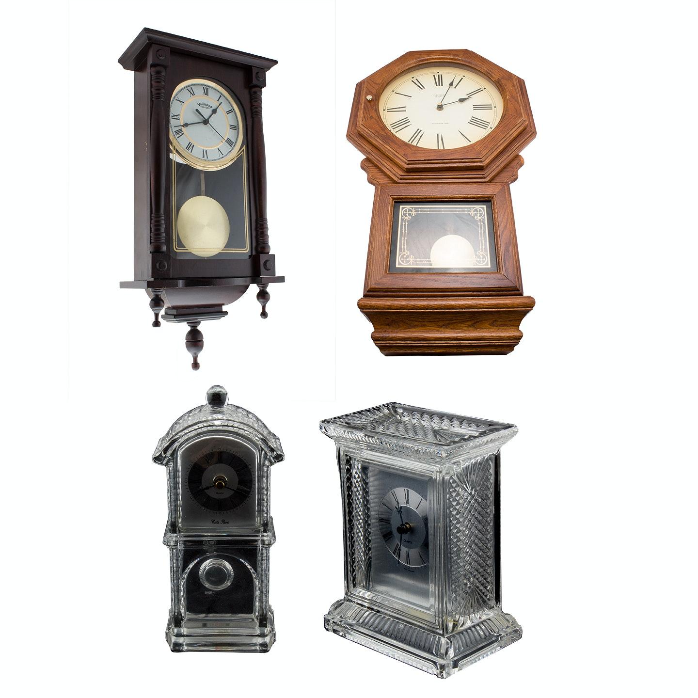 Wooden Wall Clocks and Crystal Mantel Clocks