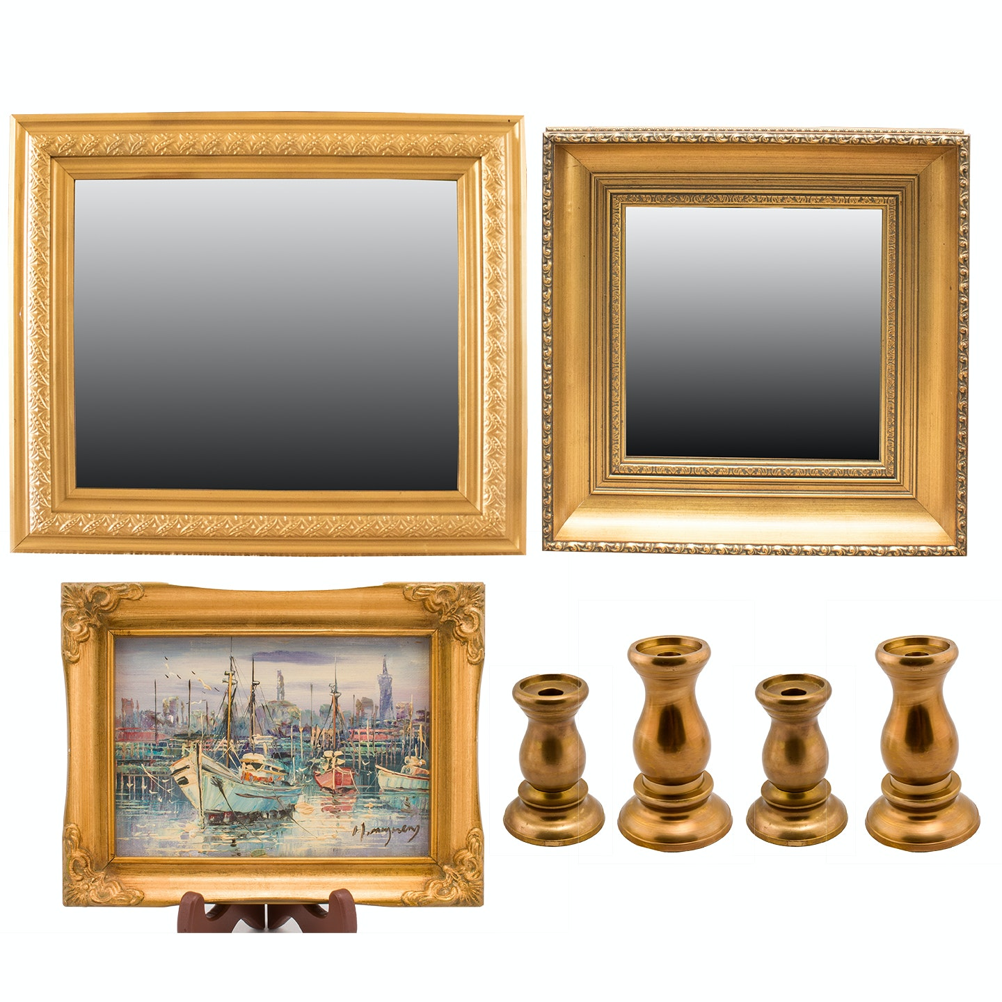 Oil Painting, Wall Mirrors and Brass Decor