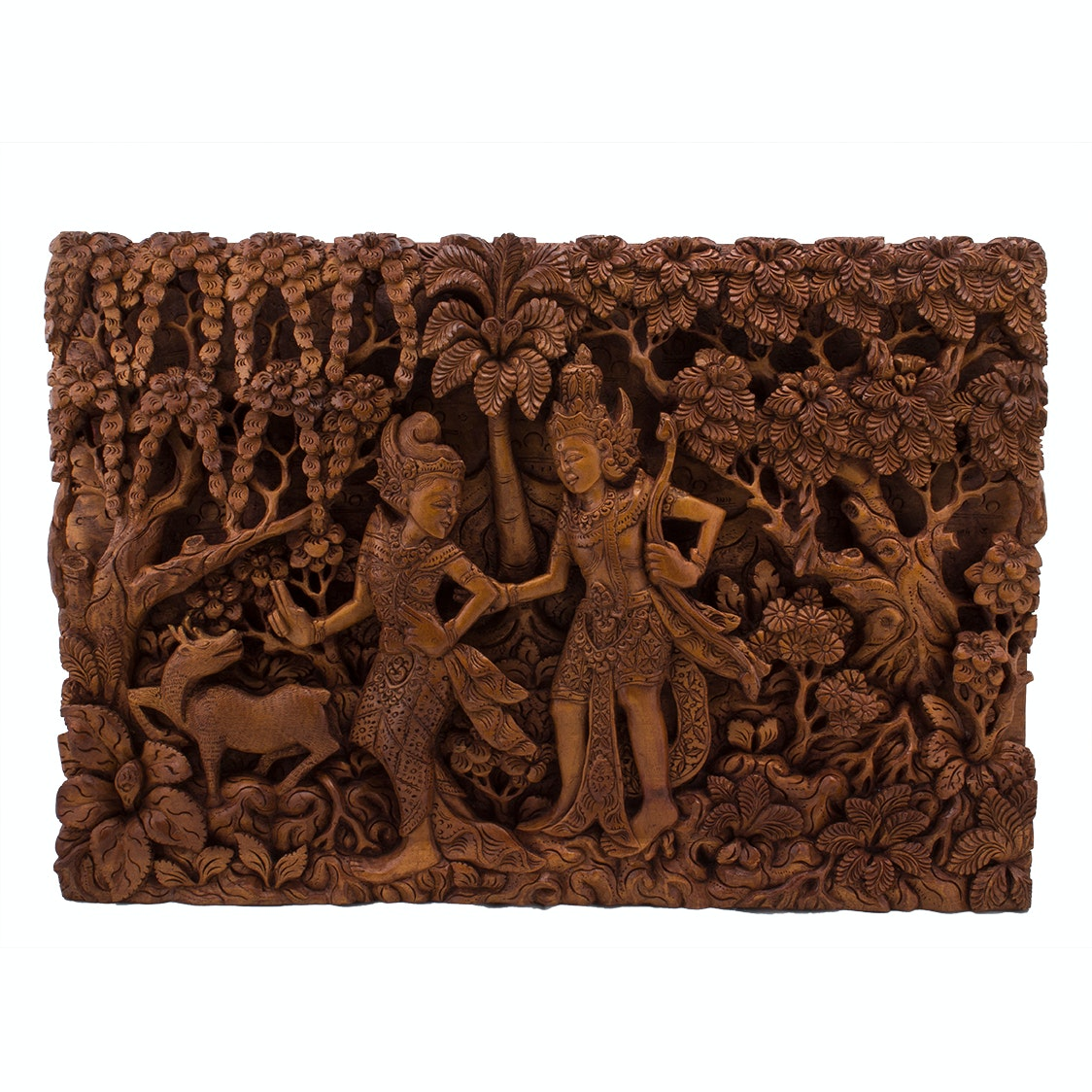 Southeast Asian Carved Wood Wall Sculpture