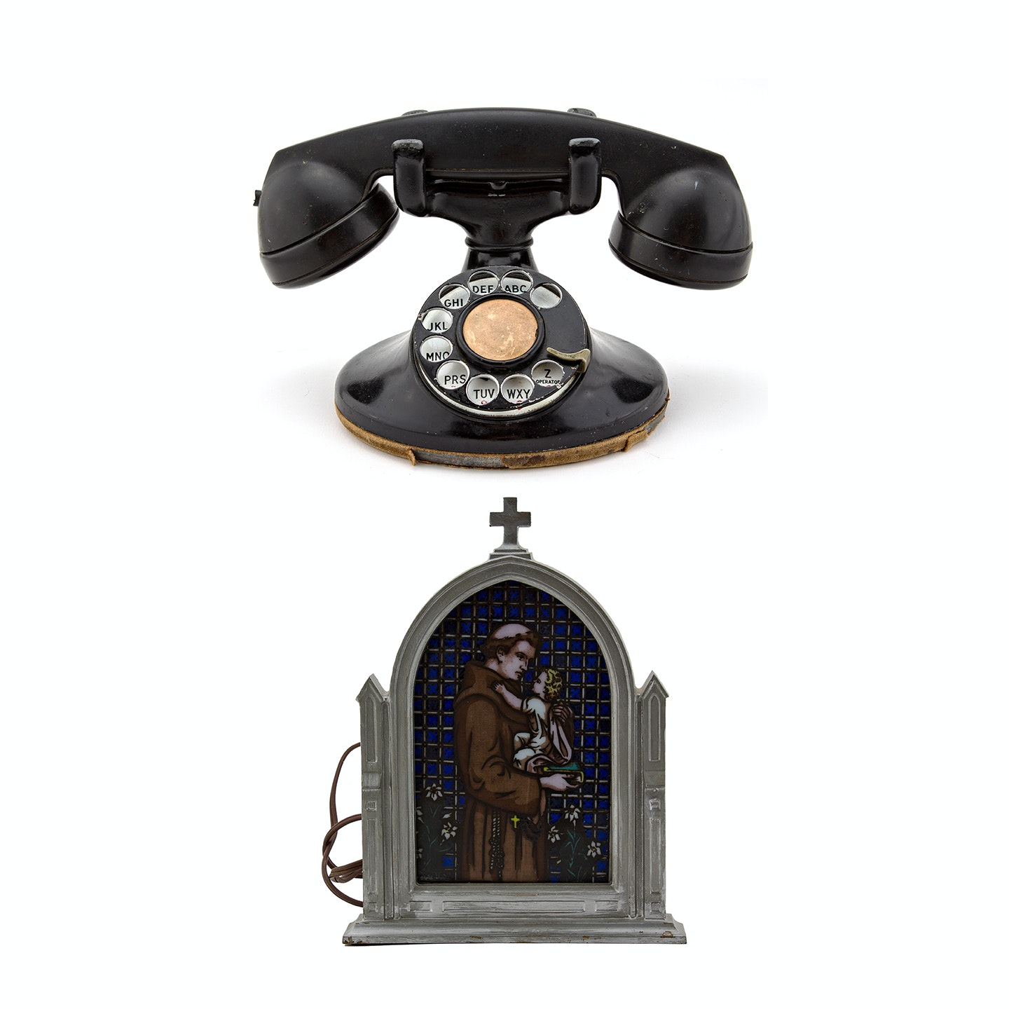 Cast Iron Cathedral Lamp with Hand-Painted Panel and Vintage telephone