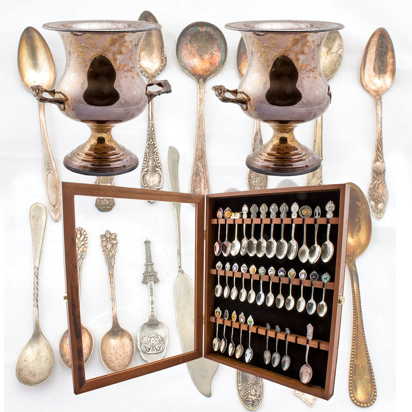 Silver Plated Champagne Buckets and Souvenir Spoon Collection in Display Case