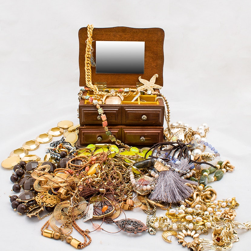 Generous Selection of Gold Tone Beaded Jewelry with Jewelry Box