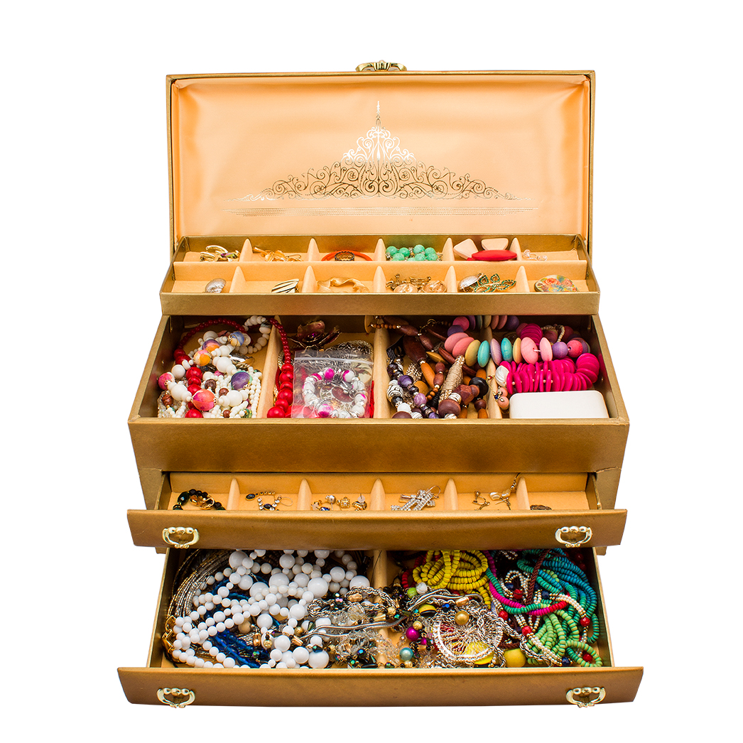 Large Assortment of Vintage Jewelry and Gold Tone Buxton Jewelry Box