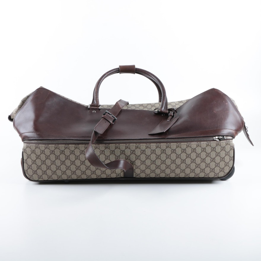 1c6d35d92e0e Gucci Supreme GG Canvas and Leather Rolling Suitcase ...