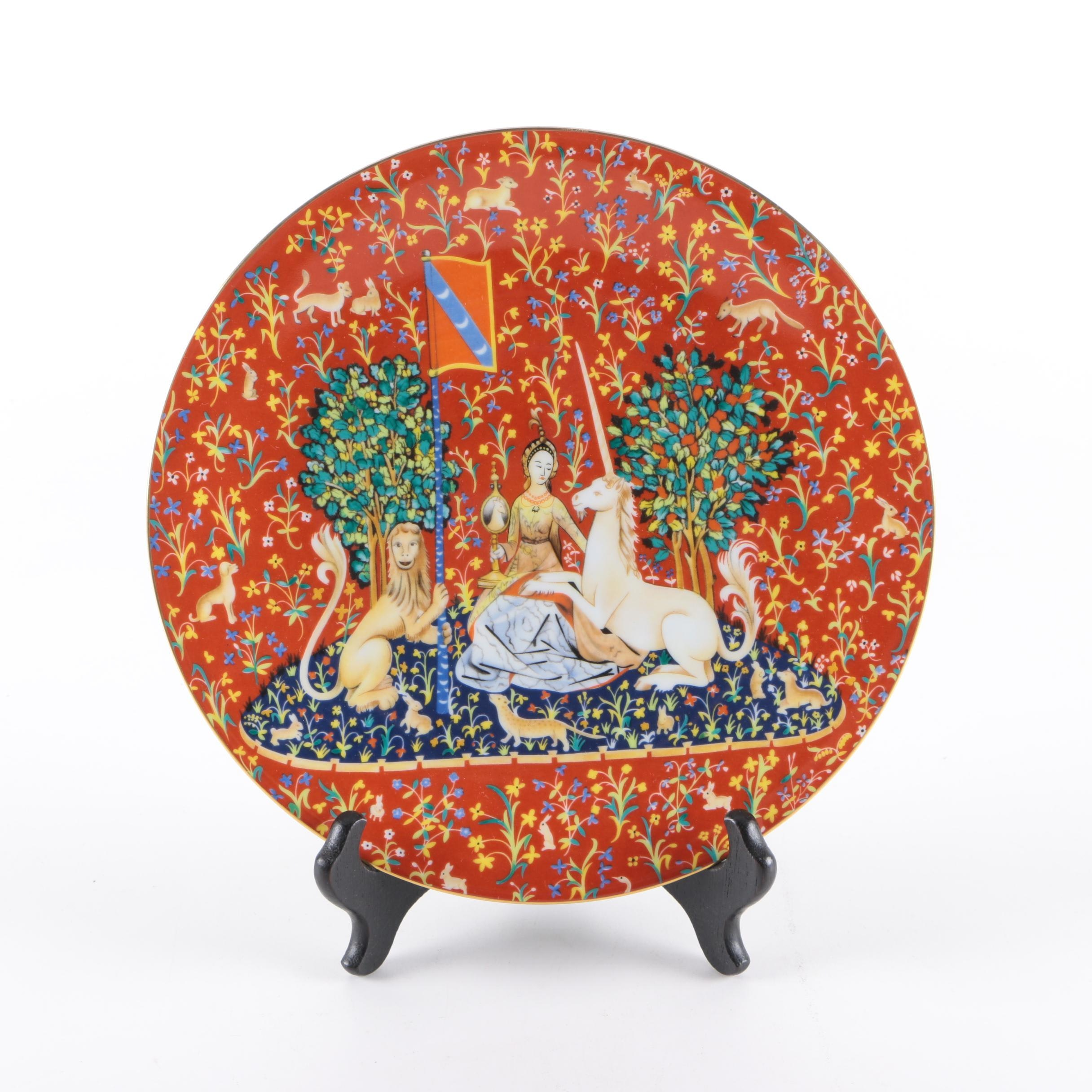 "Limoges ""La Dame a la Licorne"" Decorative Porcelain Plate with Stand"