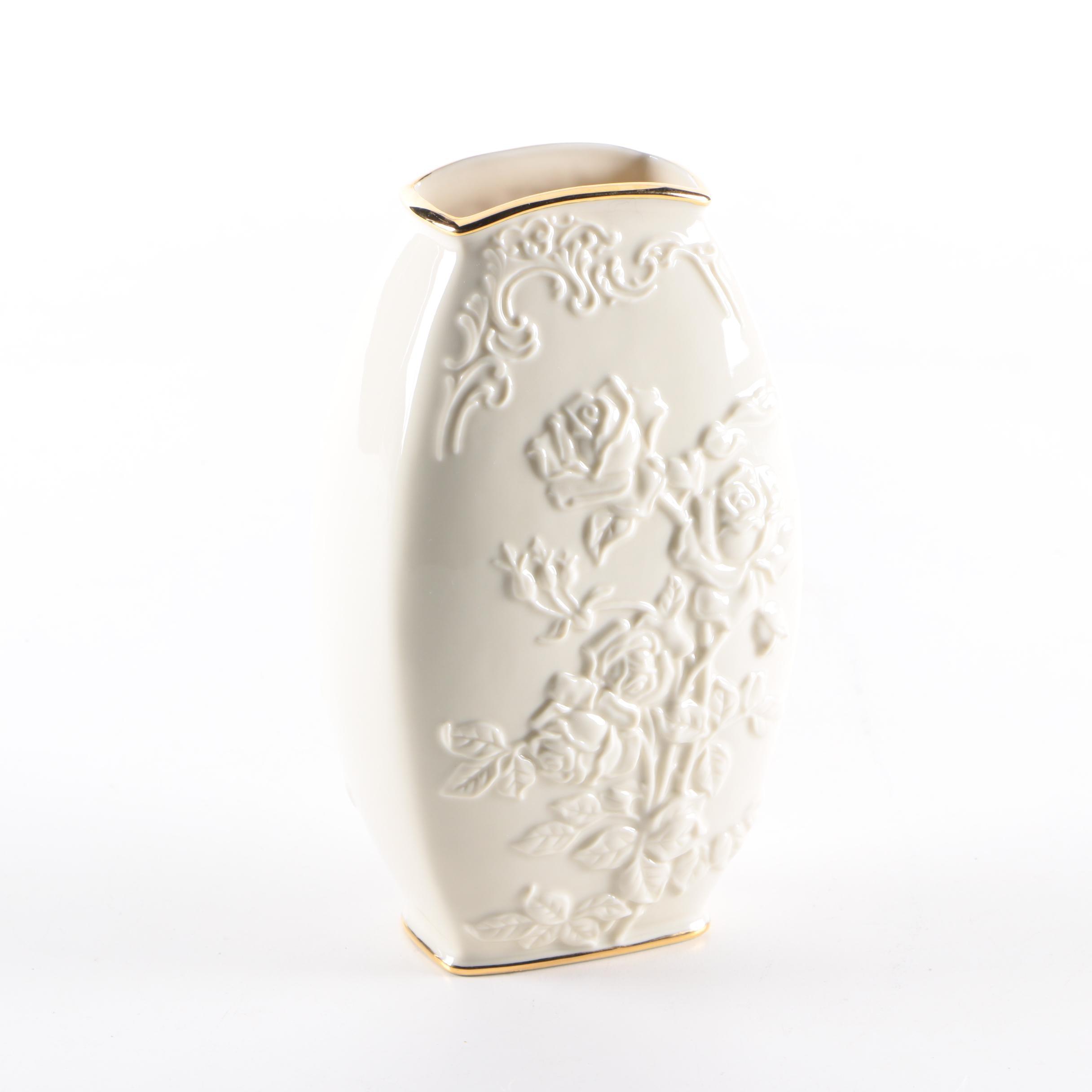 Lenox Porcelain Embossed Rose Vase