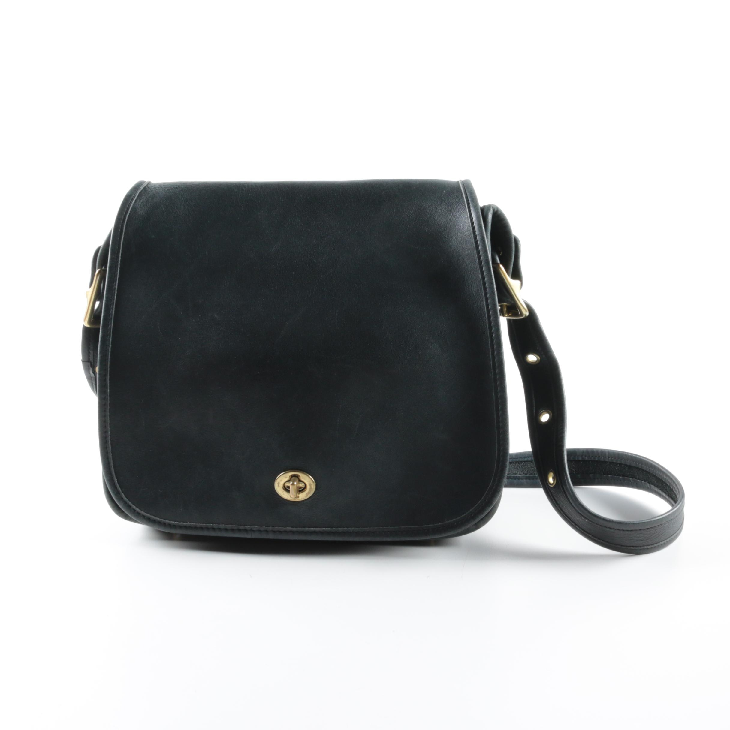 Vintage Coach Stewardess Black Leather Handbag