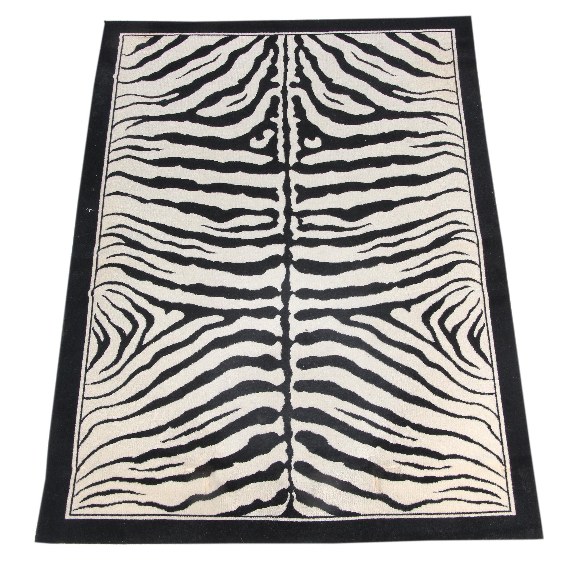 Power-Loomed Zebra Pattern Wool Area Rug