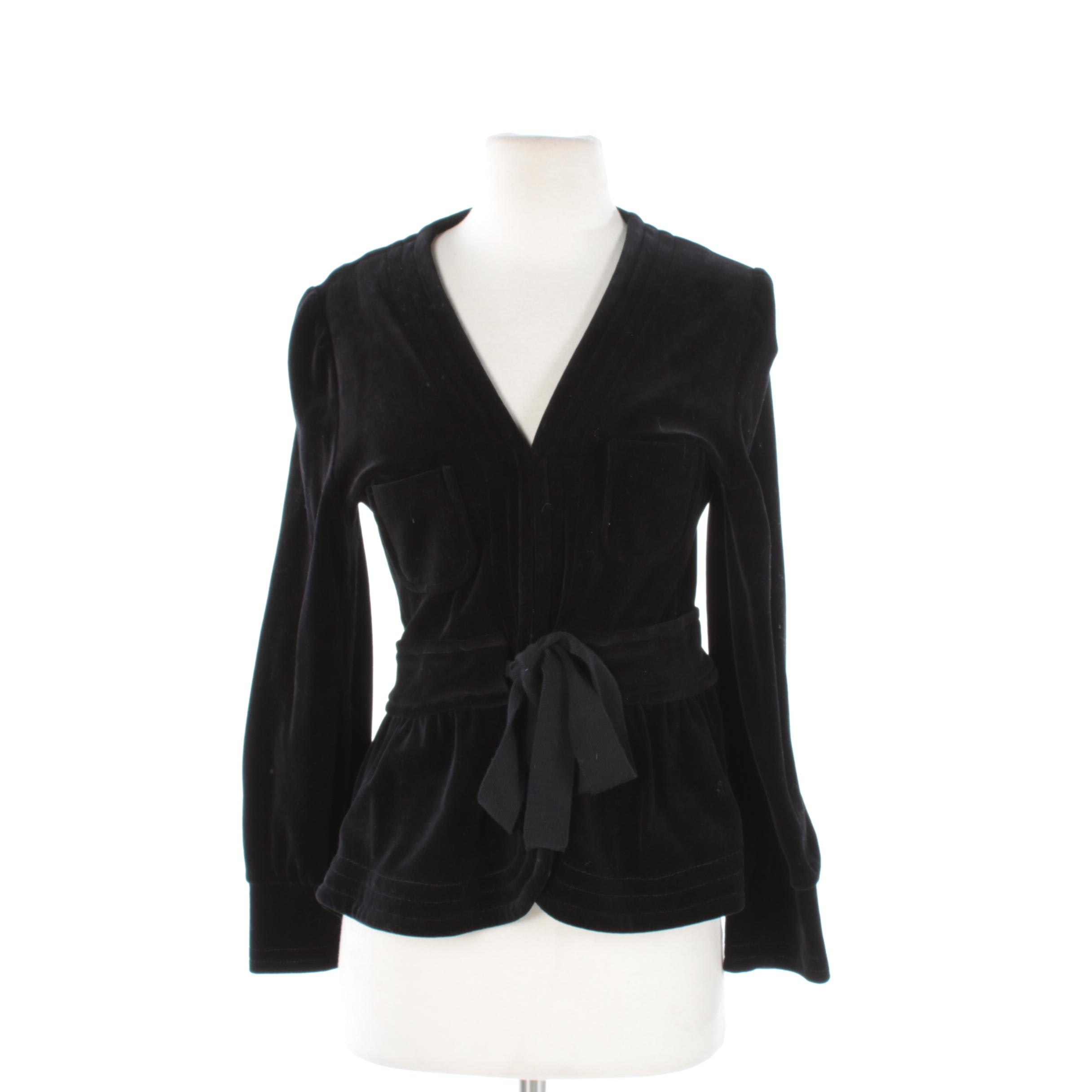Women's Sonia Rykiel Black Velvet Suit Jacket