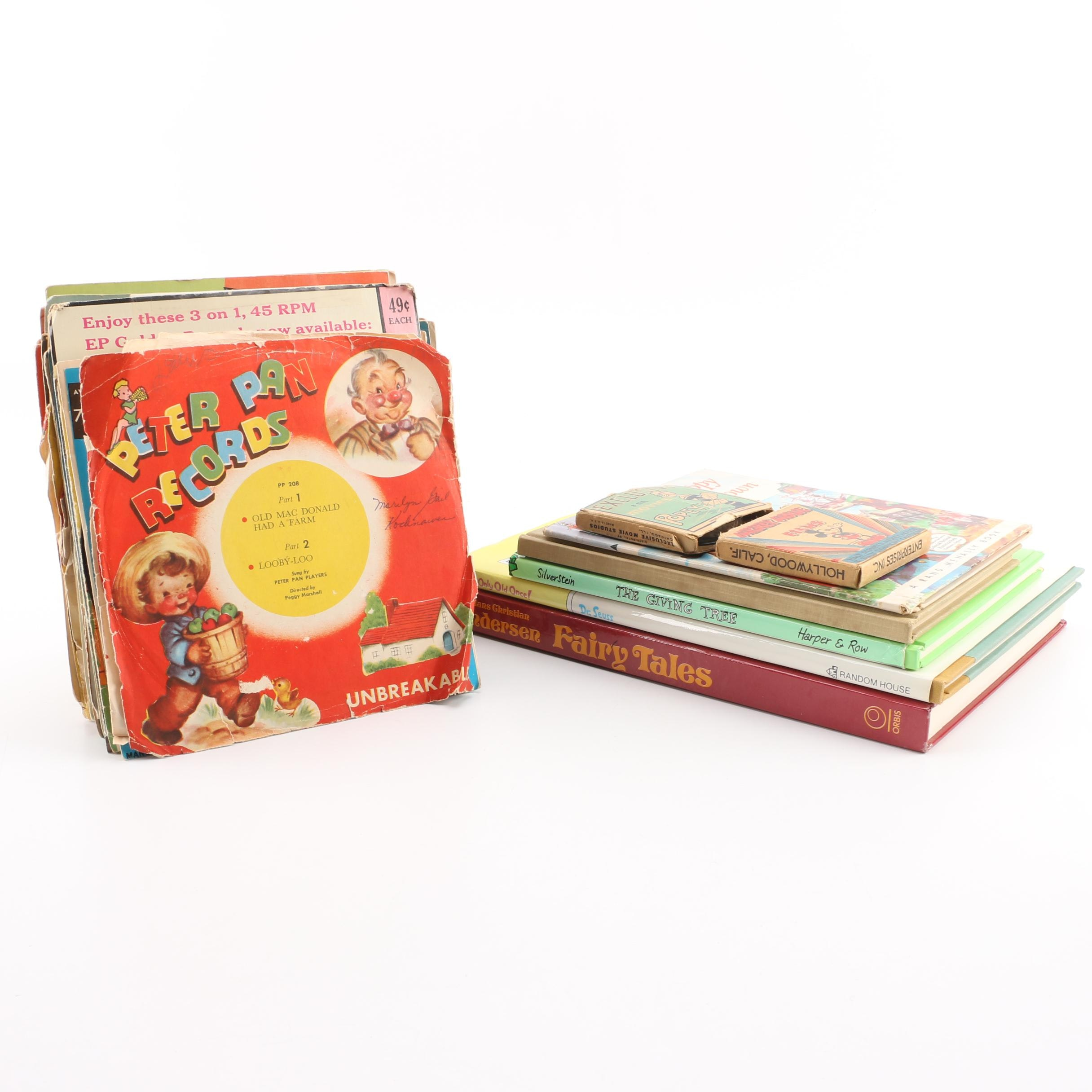 Vintage Children's Media Including 8mm Films, Books, and Records