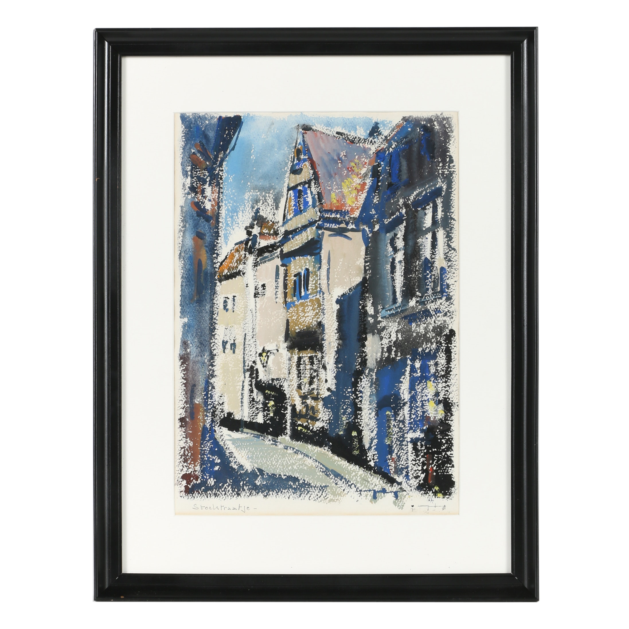 """Mid 20th-Century Watercolor and Gouache on Paper """"Stoelstraatje"""""""