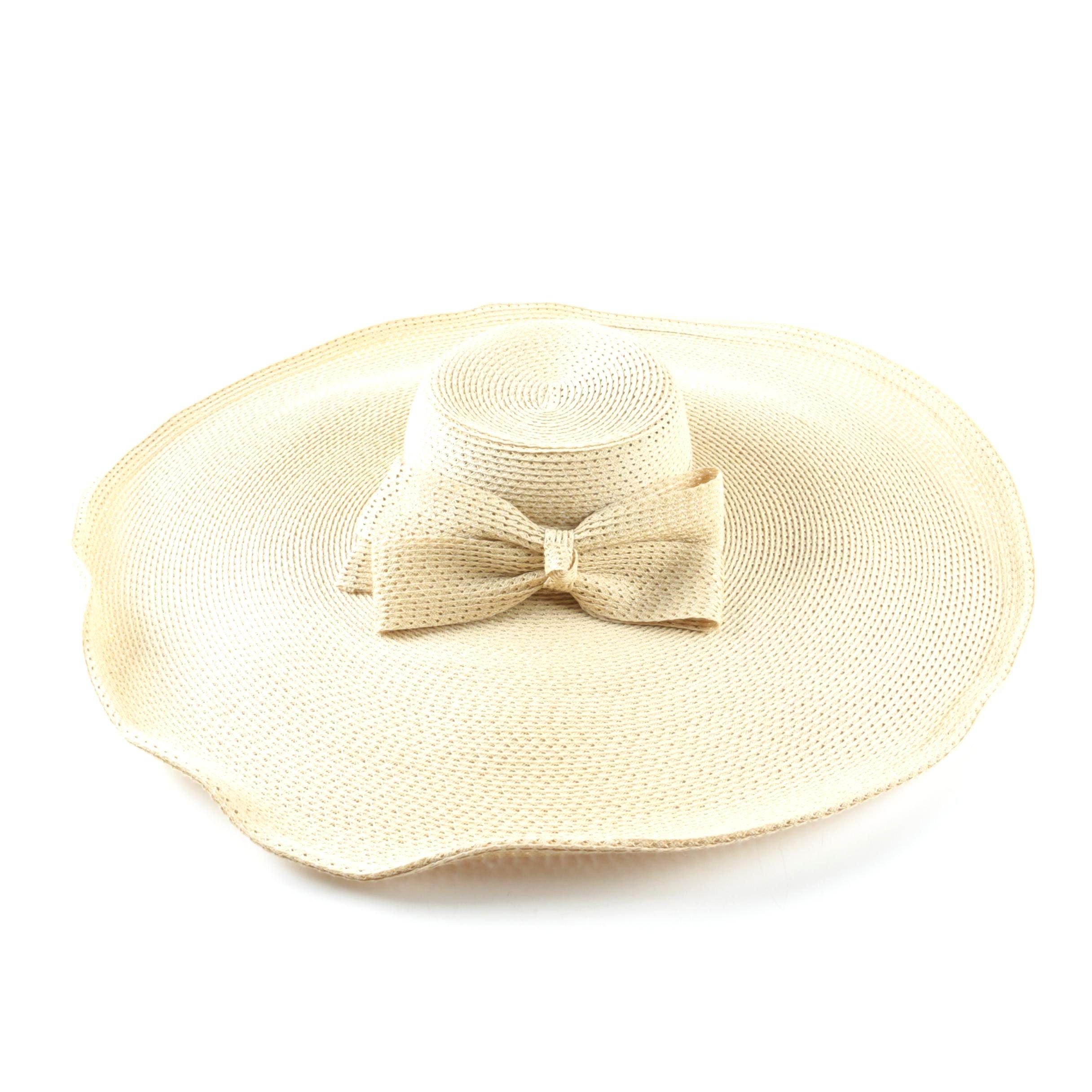 Women's Kokin of New York hand Woven Straw Wide Brimmed Sun Hat