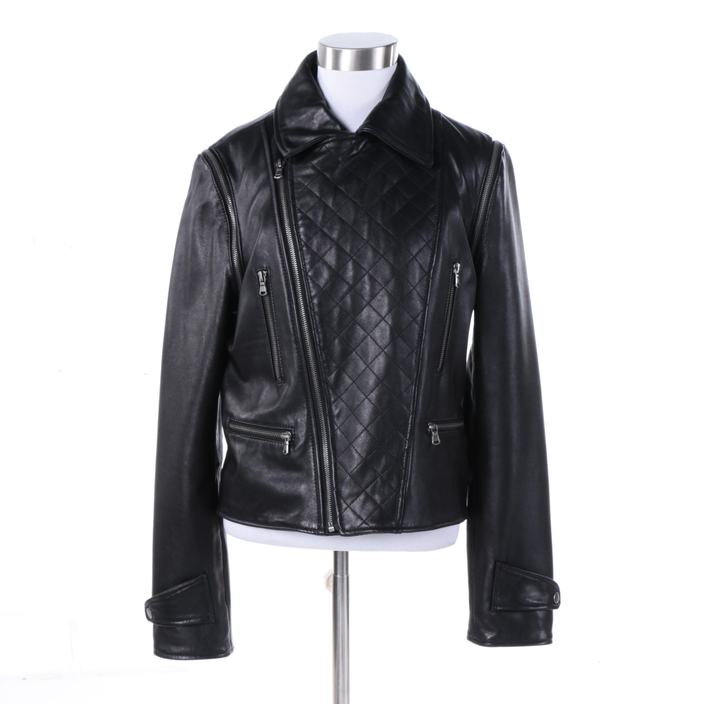 Women's Bagatelle City Black Leather Biker Jacket