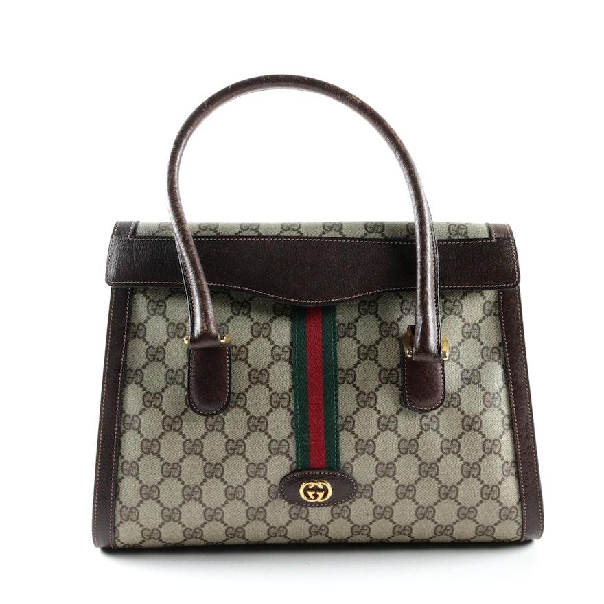 e8c2363b1061 Vintage Gucci GG Supreme Canvas Handbag