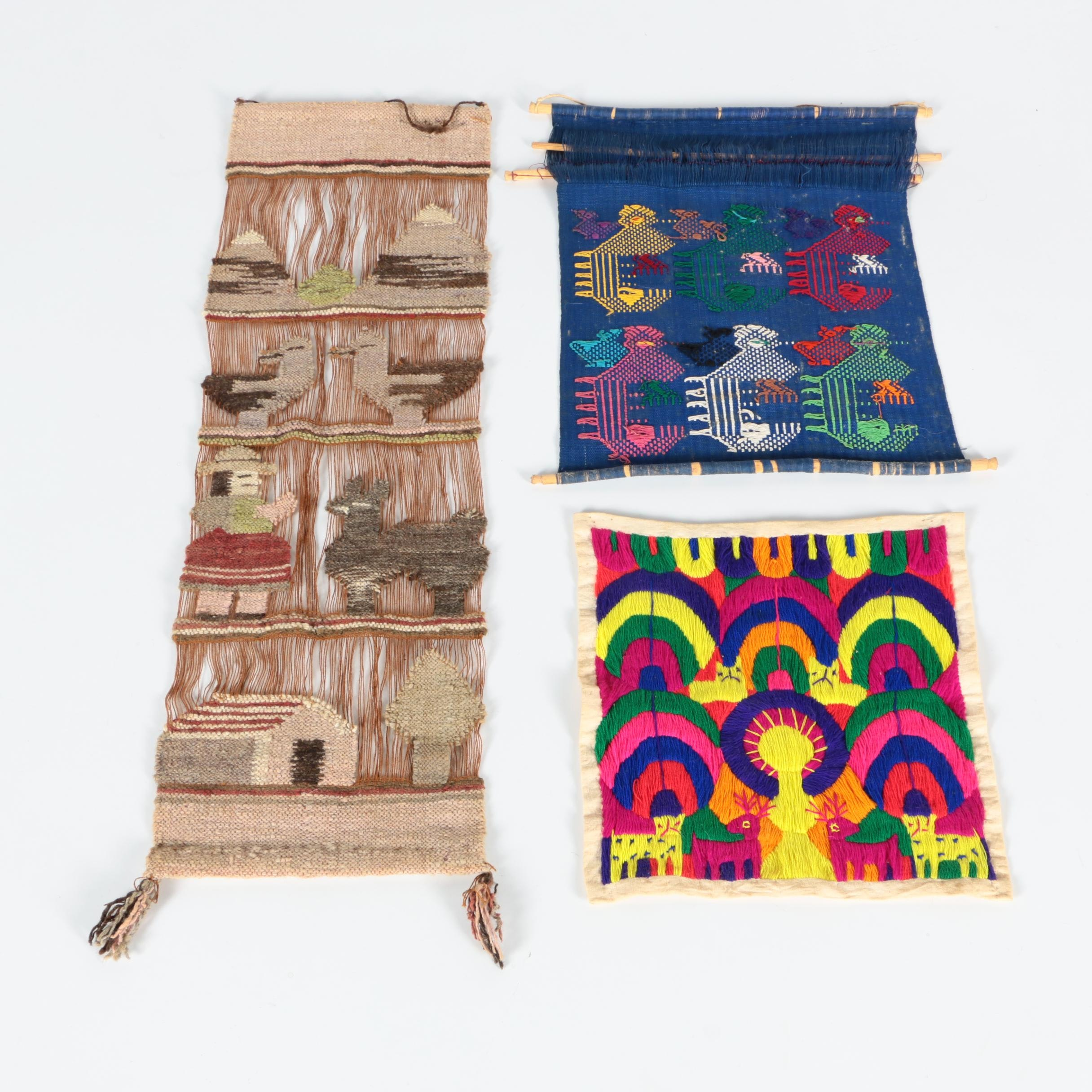 Handwoven and Embroidered Pictorial Wall Hangings