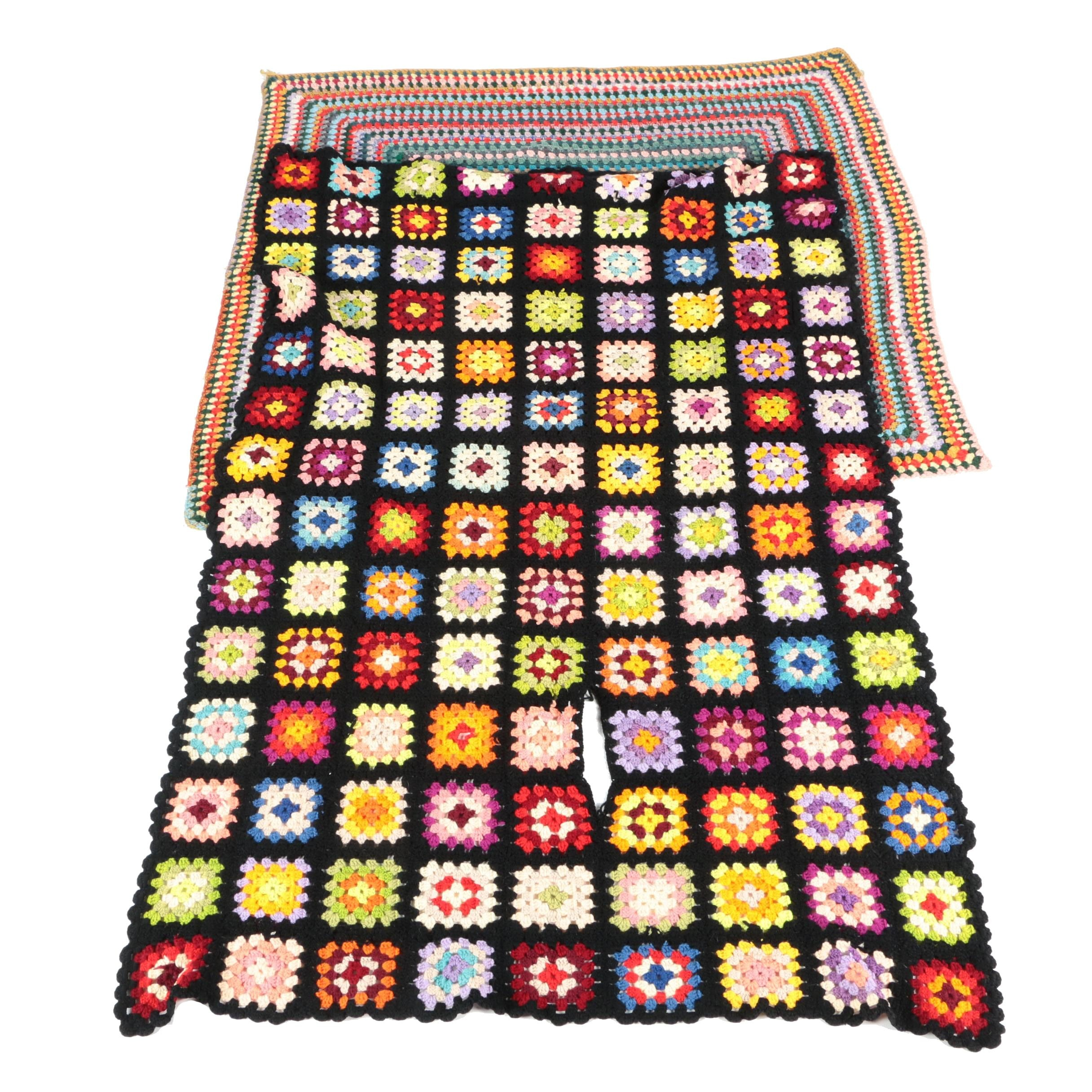 Brightly Colored Crocheted Afghans