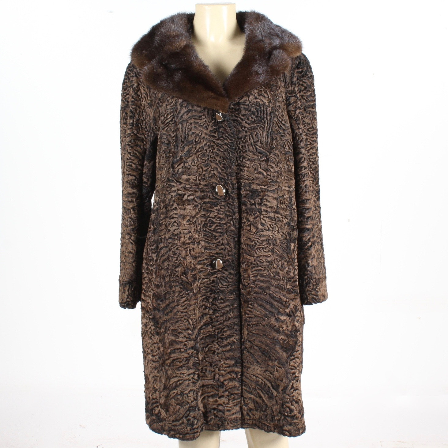 Vintage Curly Lamb Coat with Mink Collar by Ferdinand Roth