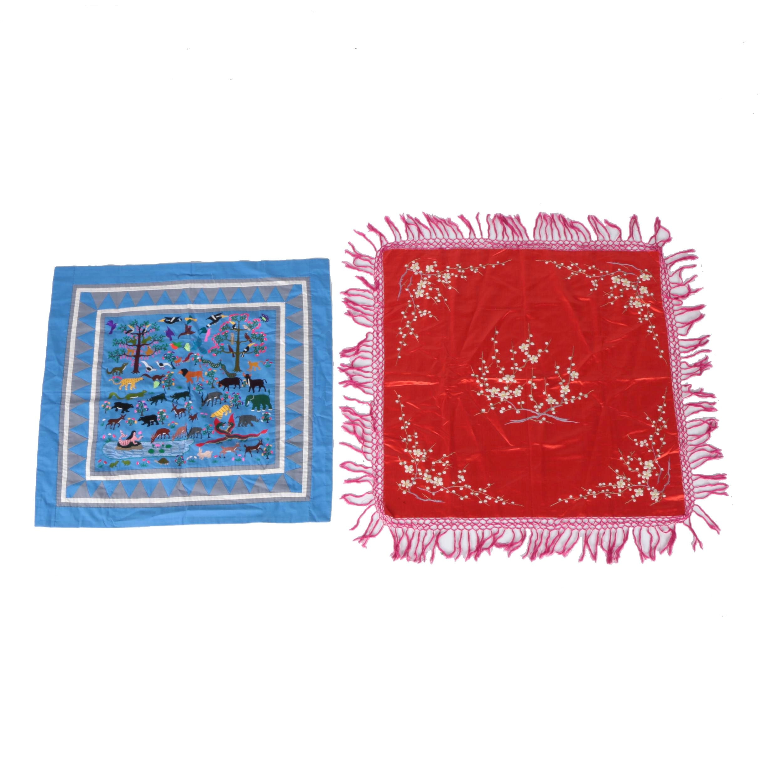 Hand-Embroidered Wall Hanging and Table Cover
