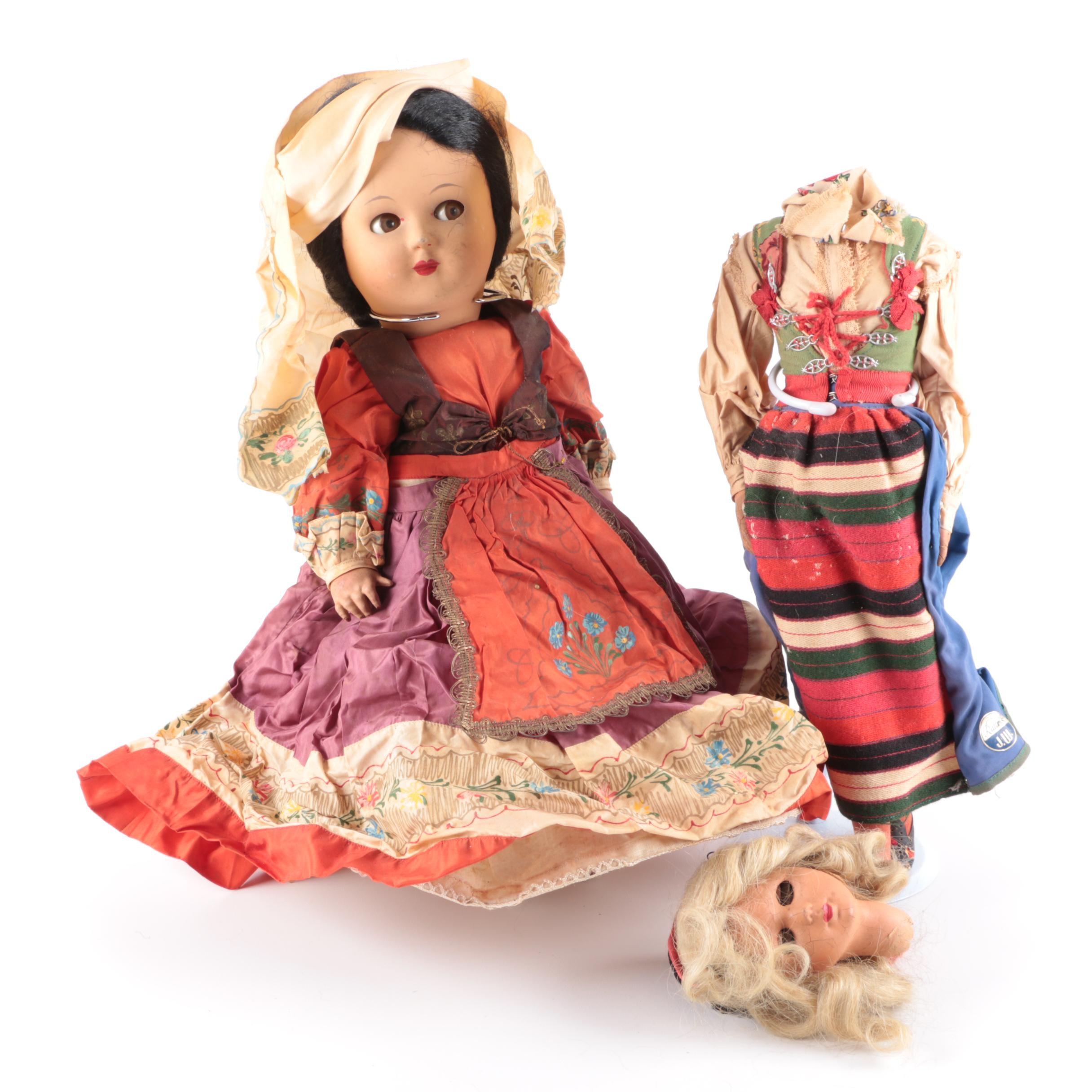 Vintage Rättvik J.W. Swedish and Italian Style Souvenir Dolls