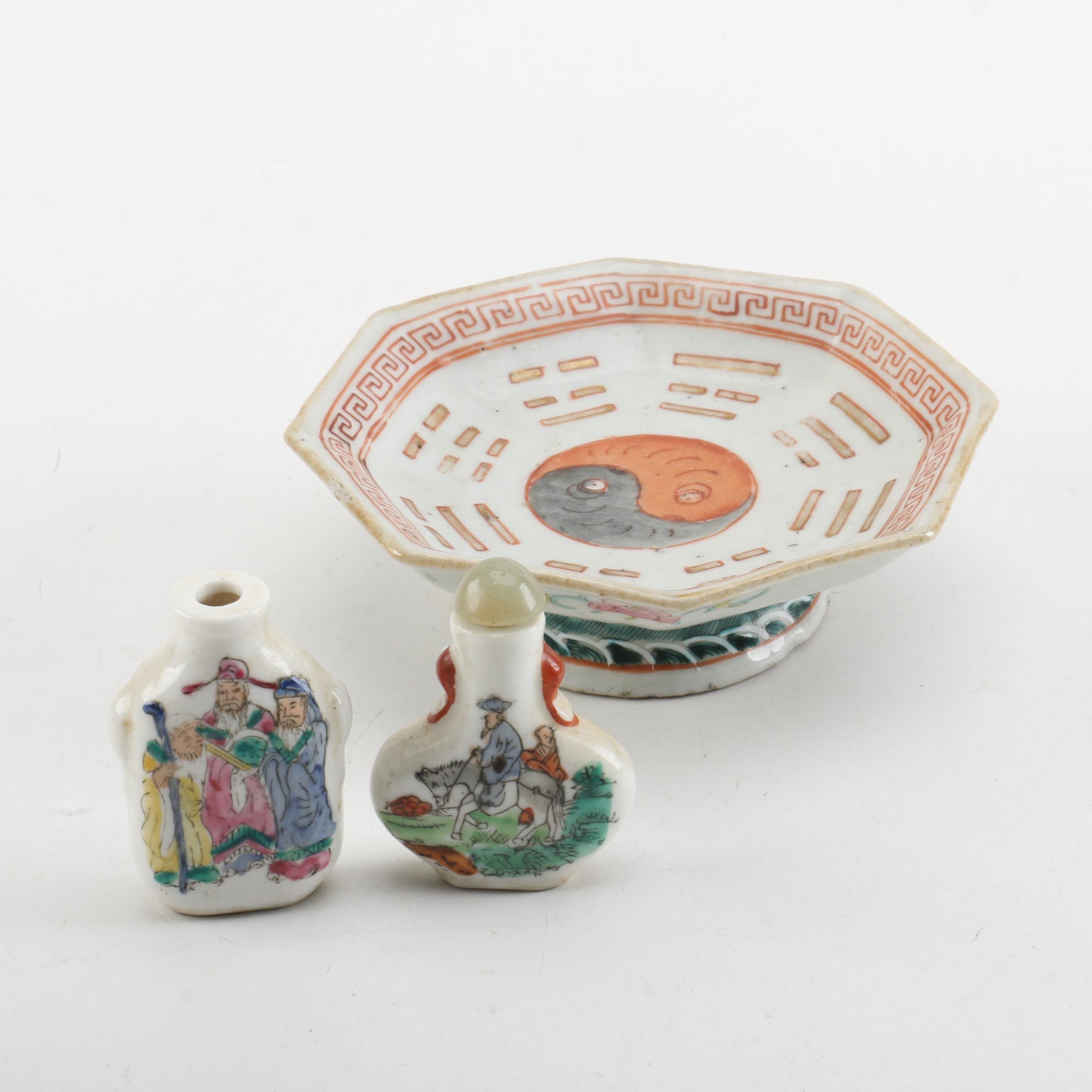 Chinese Snuff Bottles and Yin-Yang Pedestal Dish