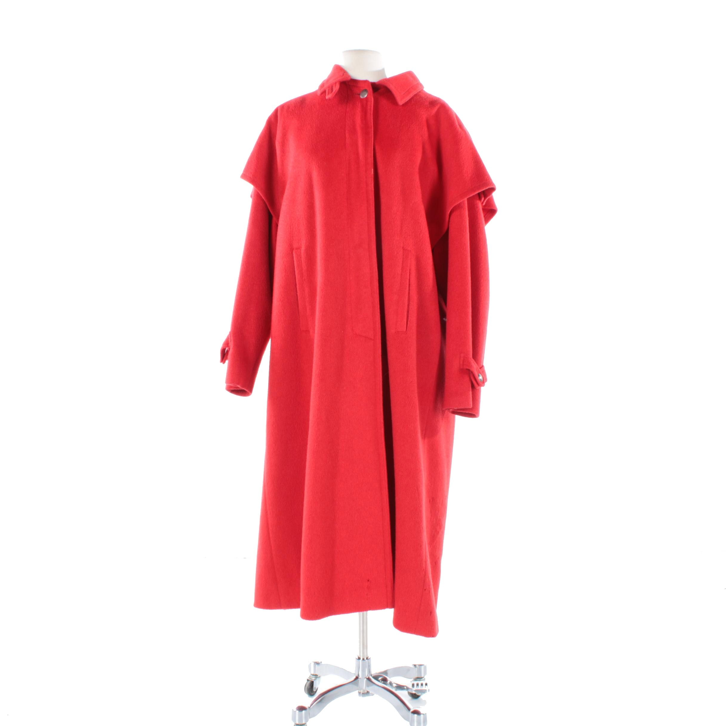 Women's Vintage Steinbock Red Wool Overcoat