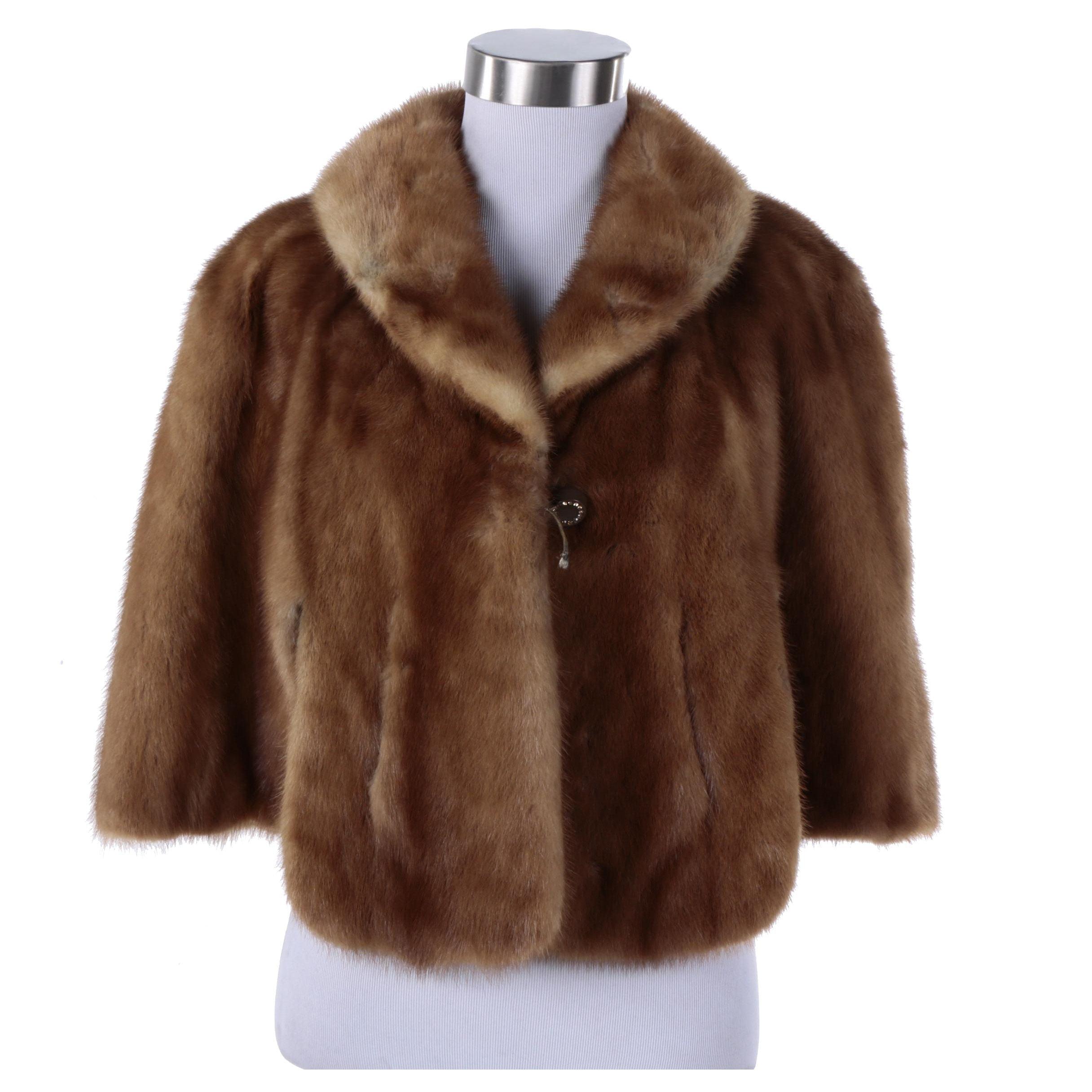 Vintage Brown Mink Fur Capelet By Fleck's Paris