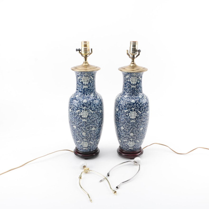 Pair of blue white asian inspired table lamps ebth pair of blue white asian inspired table lamps aloadofball Image collections