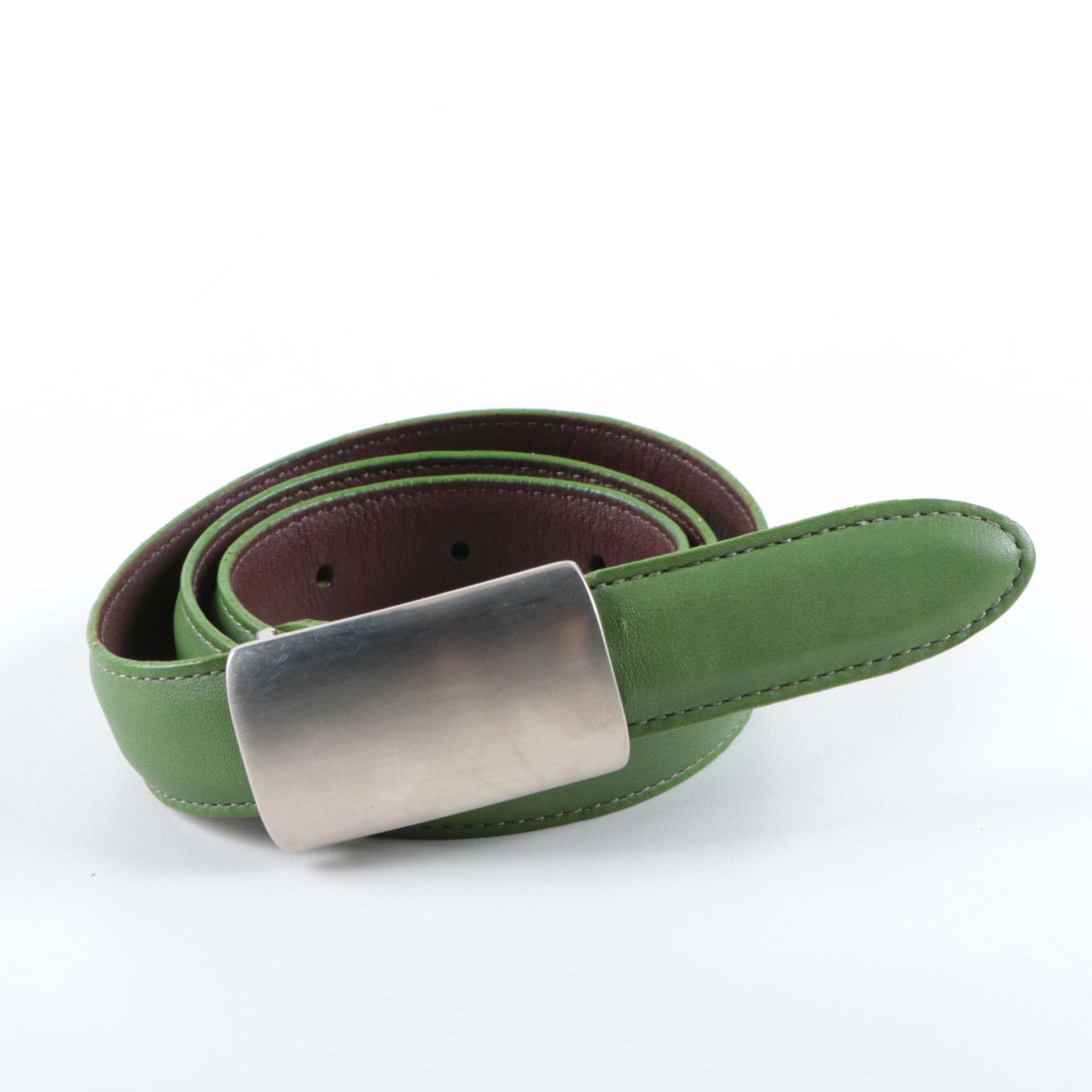Women's Coach Green Leather Belt