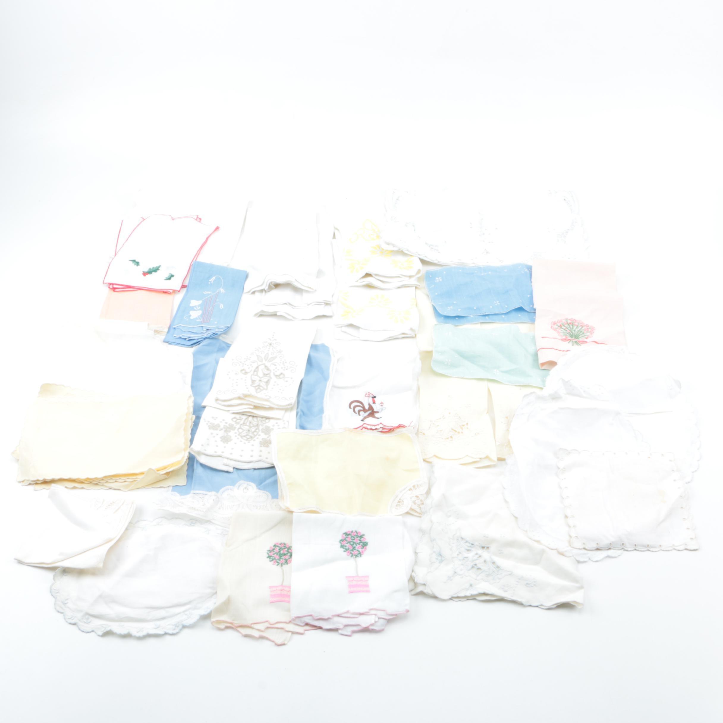 Vintage Embroidered Napkin Assortment