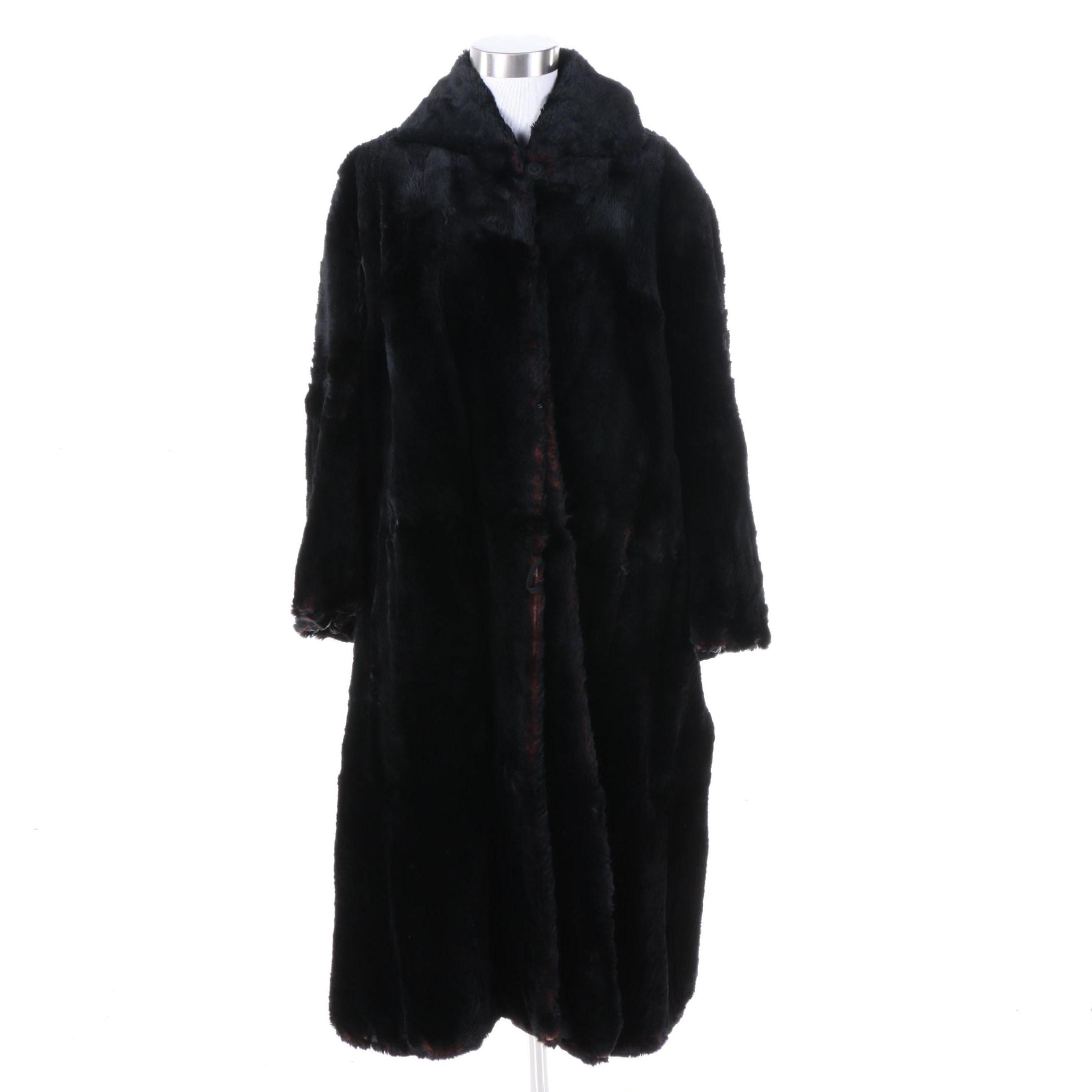 Dyed Black Sheared Beaver Fur Coat