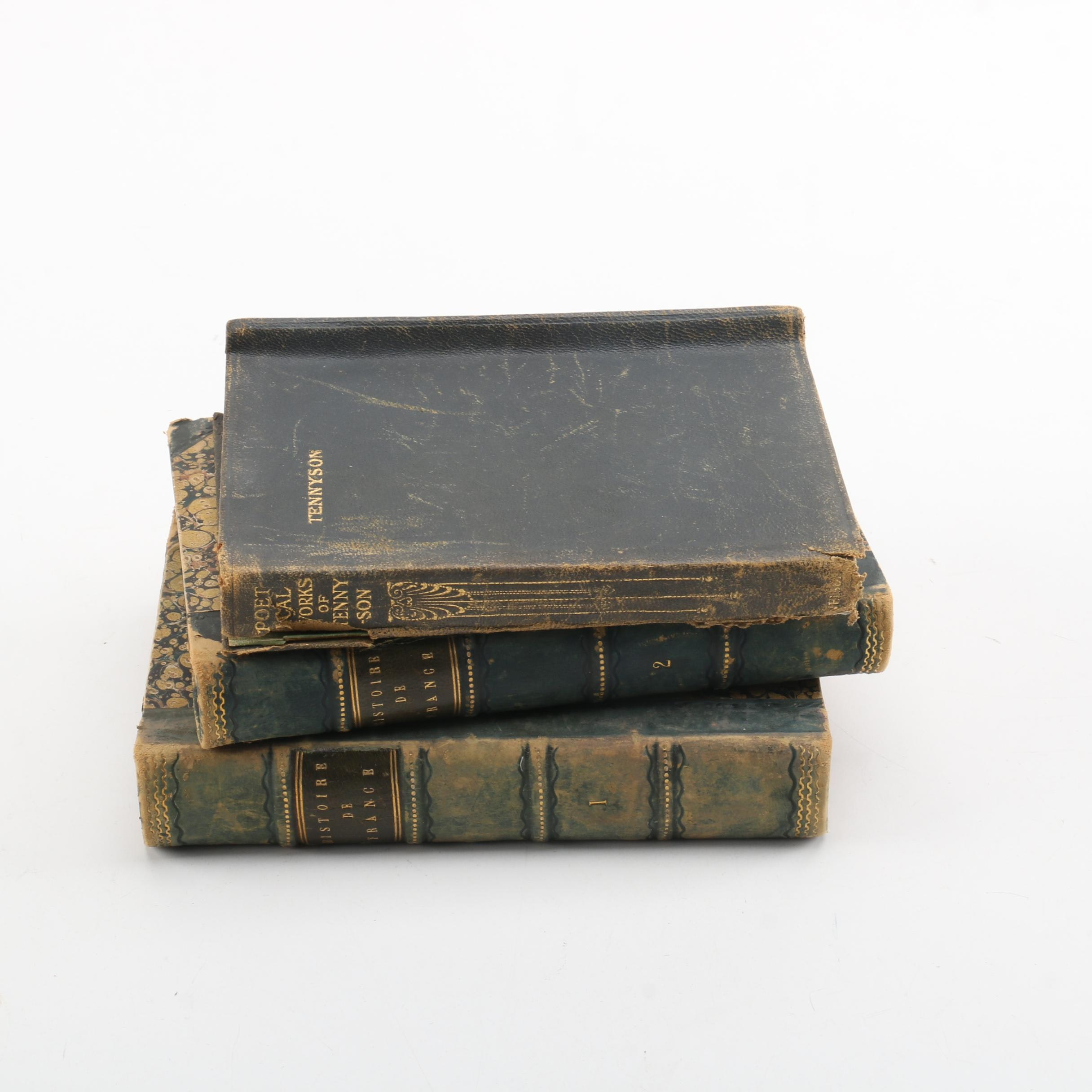 """Circa 1850s """"Histoire de France"""" and 1927 """"The Poetical Works of Tennyson"""""""