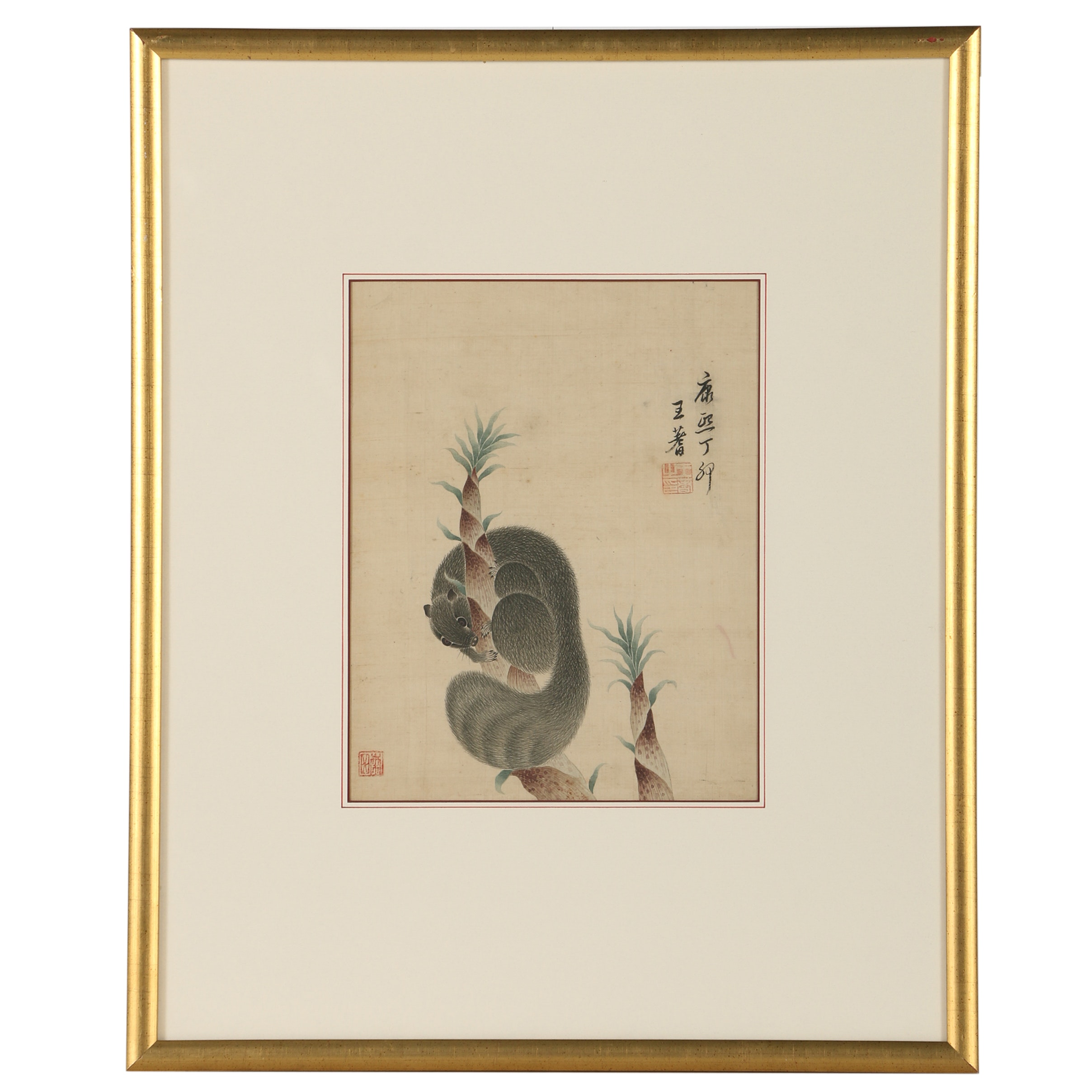 """Antique Chinese Gouache """"Rat and Bamboo"""""""