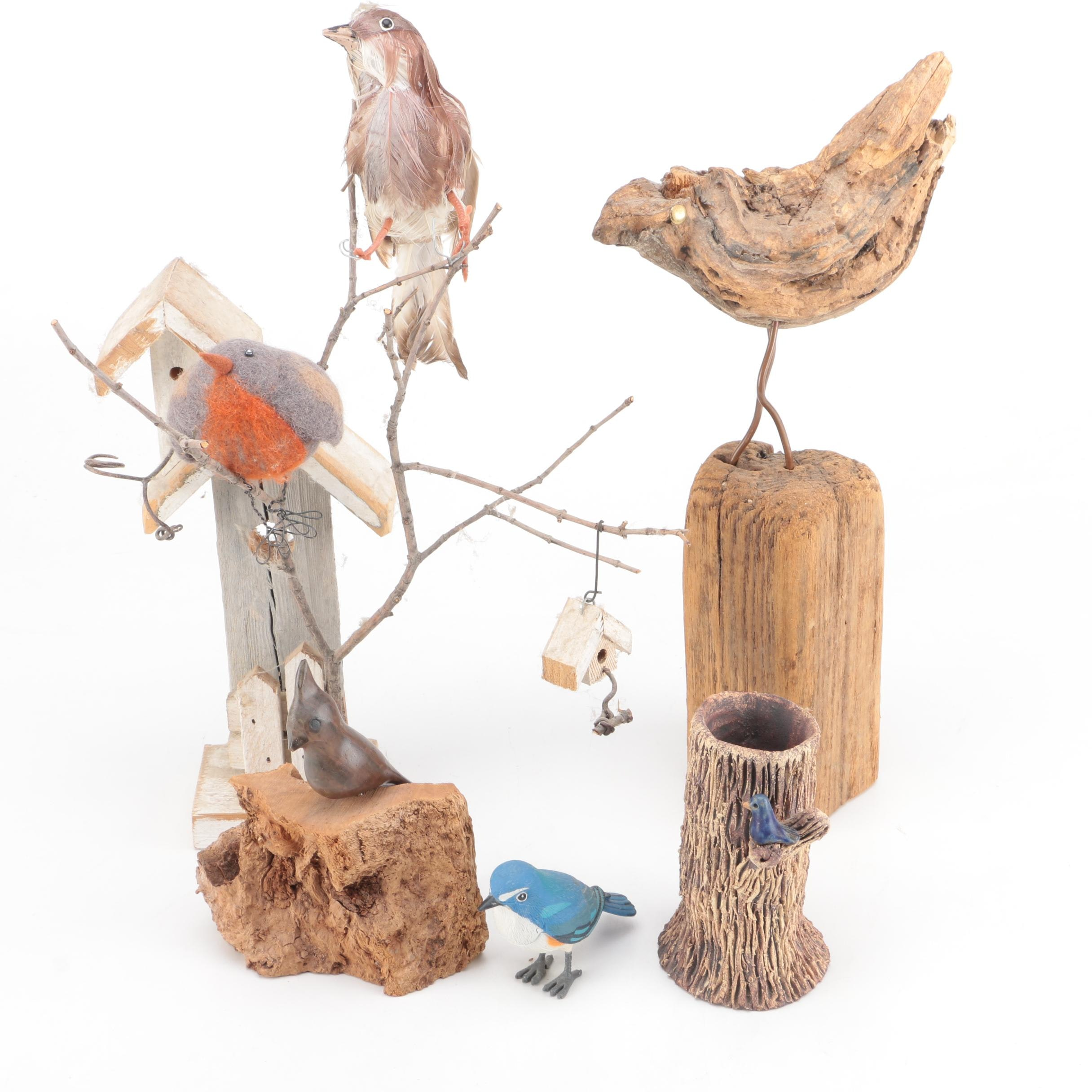 Wood and Ceramic Bird Figurines