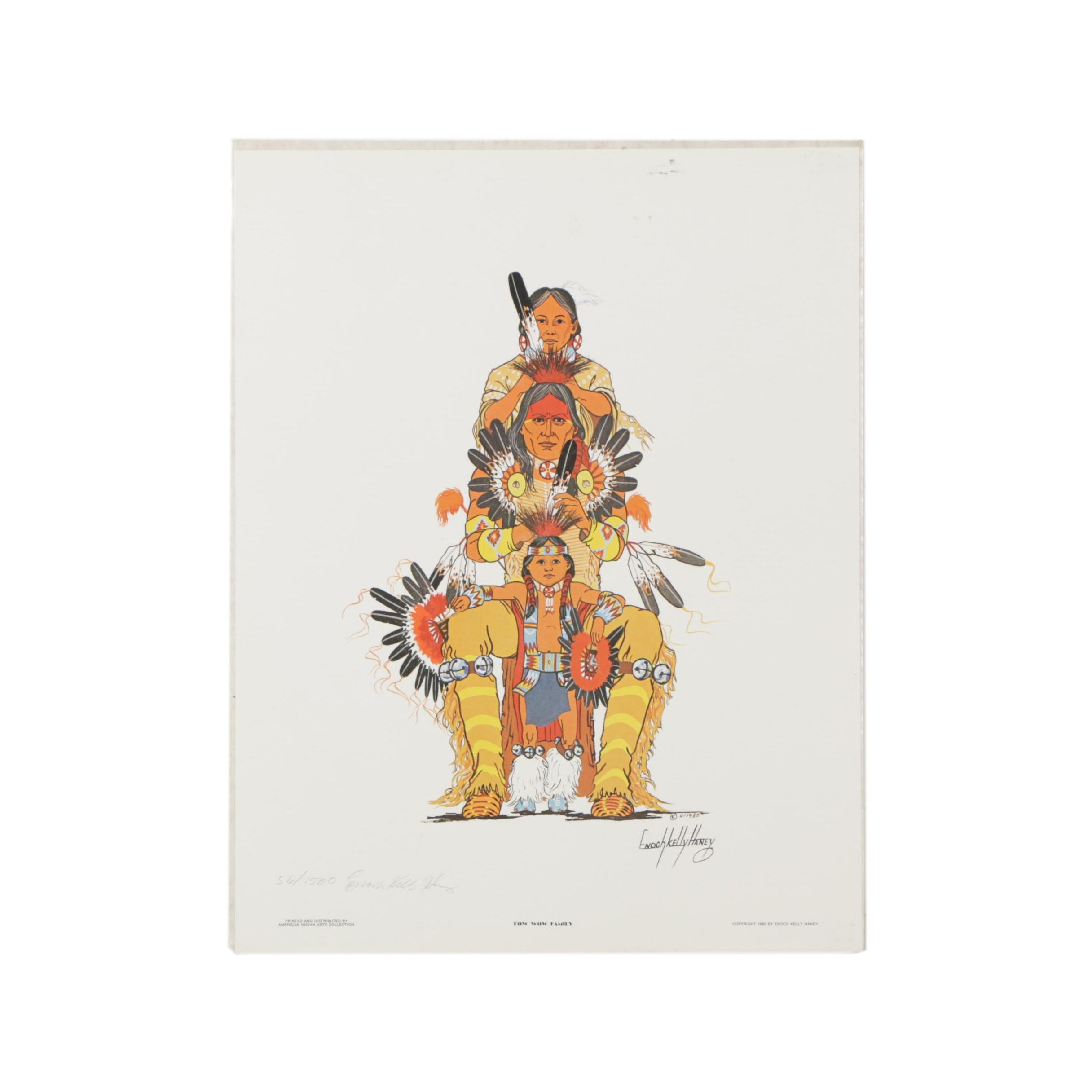"""Enoch Kelly Haney Limited Edition Offset Lithograph """"Pow Wow Family"""""""