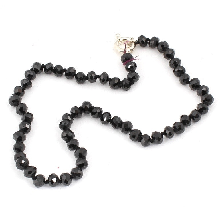 Sterling Silver Black Spinel Bead Necklace