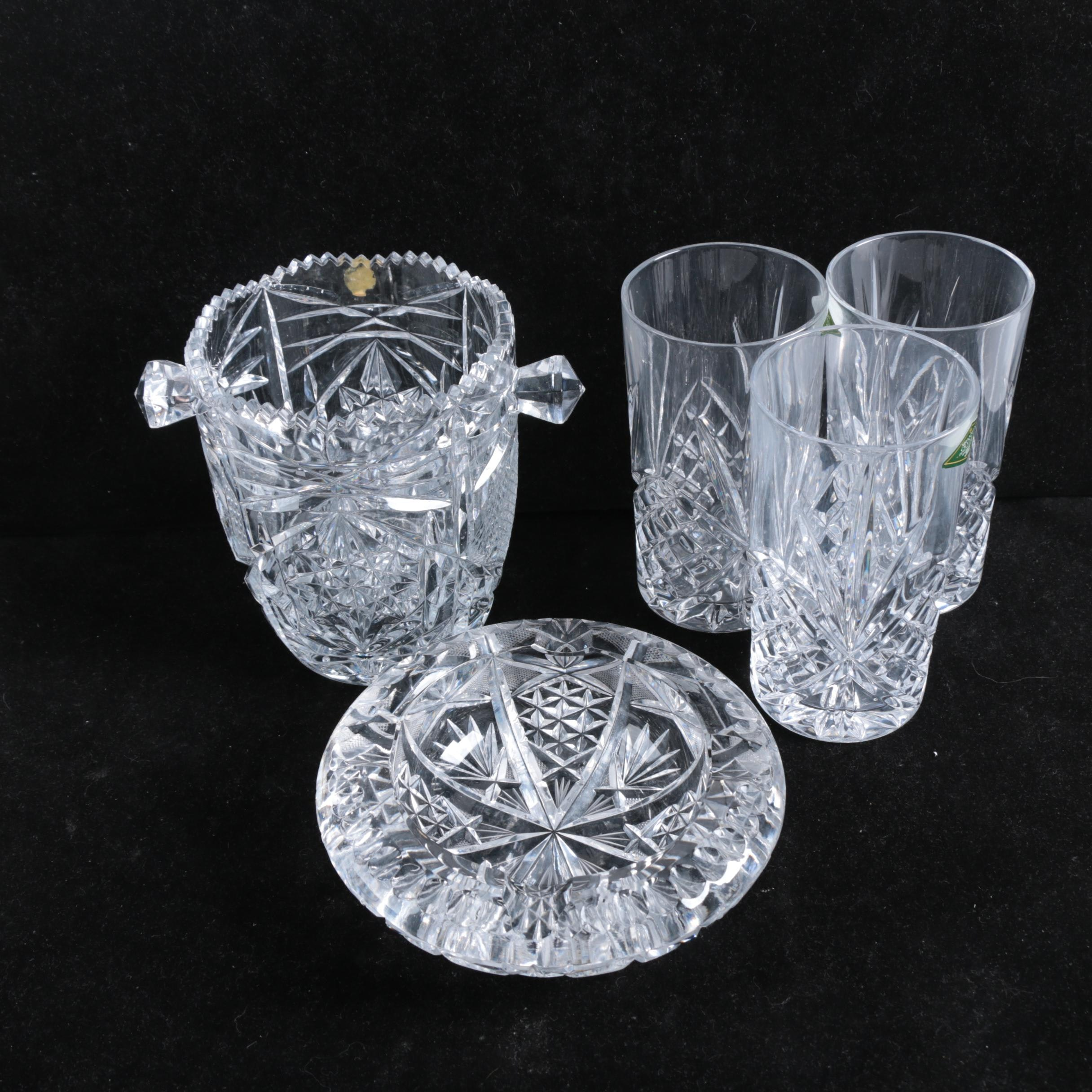 Shannon Crystal Tumblers with Crystal Ash Receiver and Ice Bucket