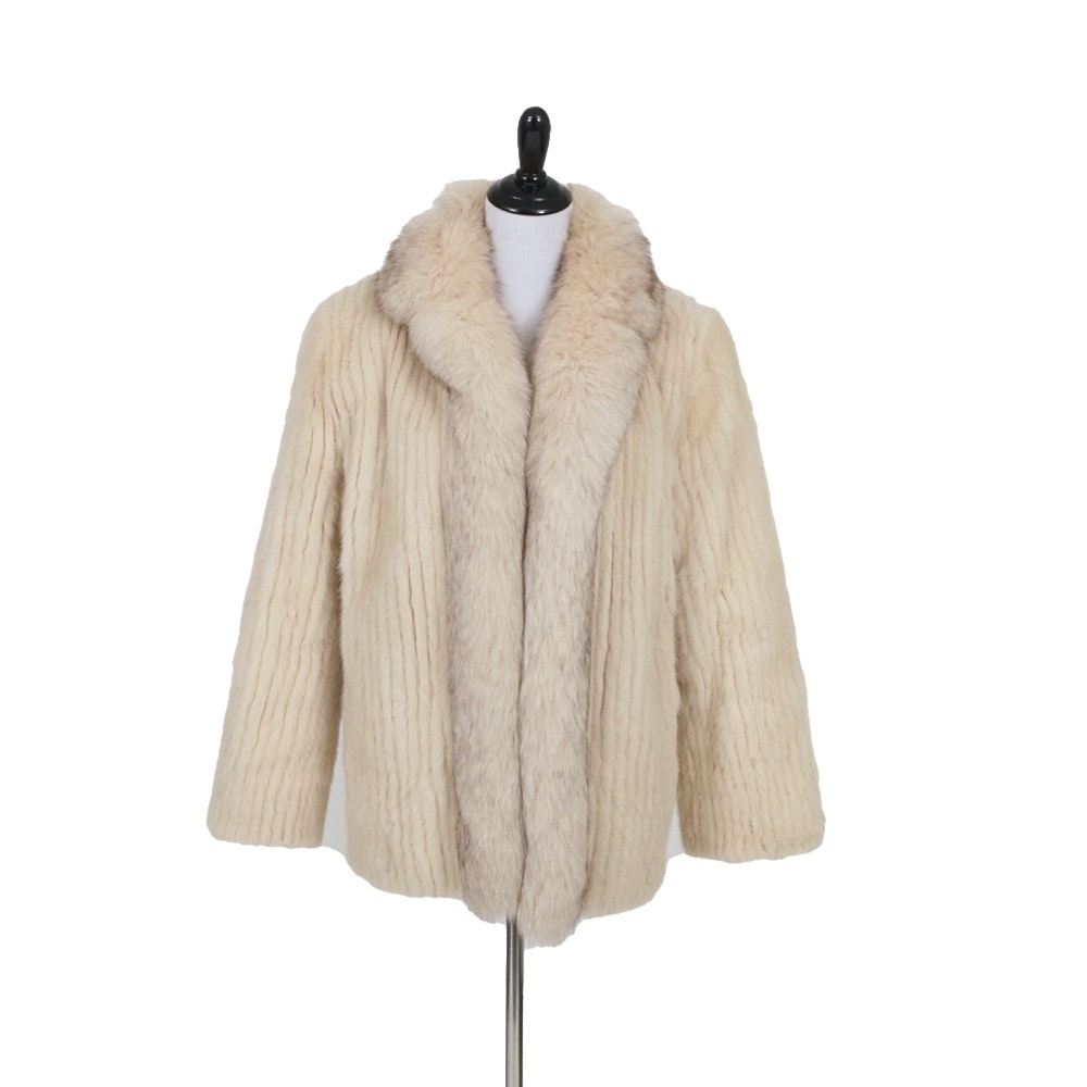 Ladies White Mink Jacket with Fox Fur Trim