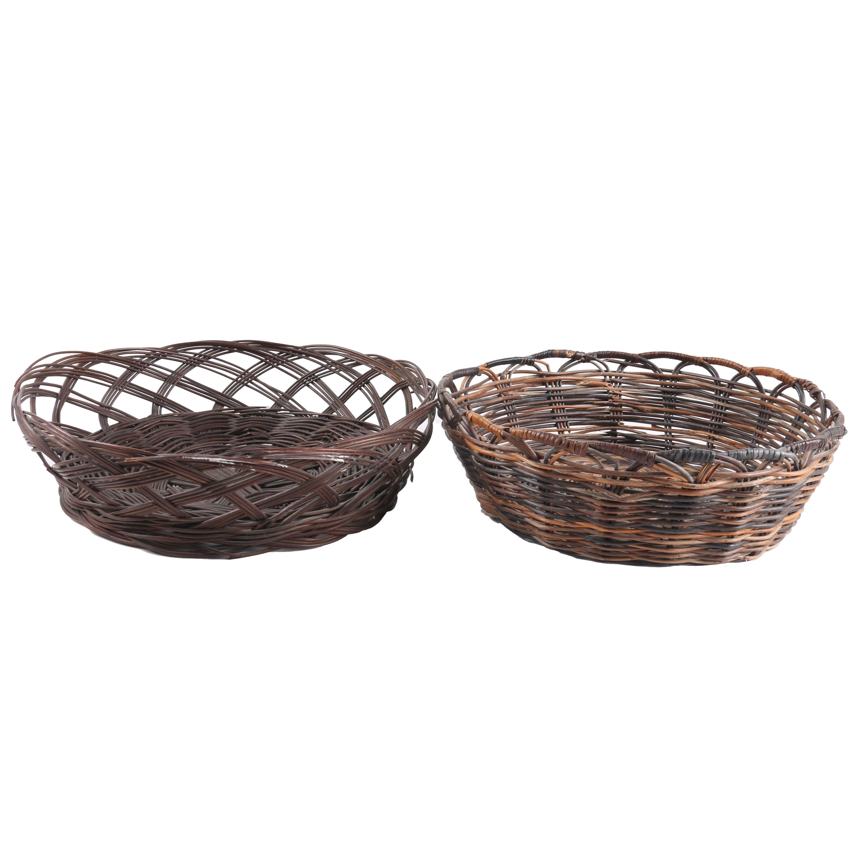 Contemporary Hand Woven Cane Basket Trays