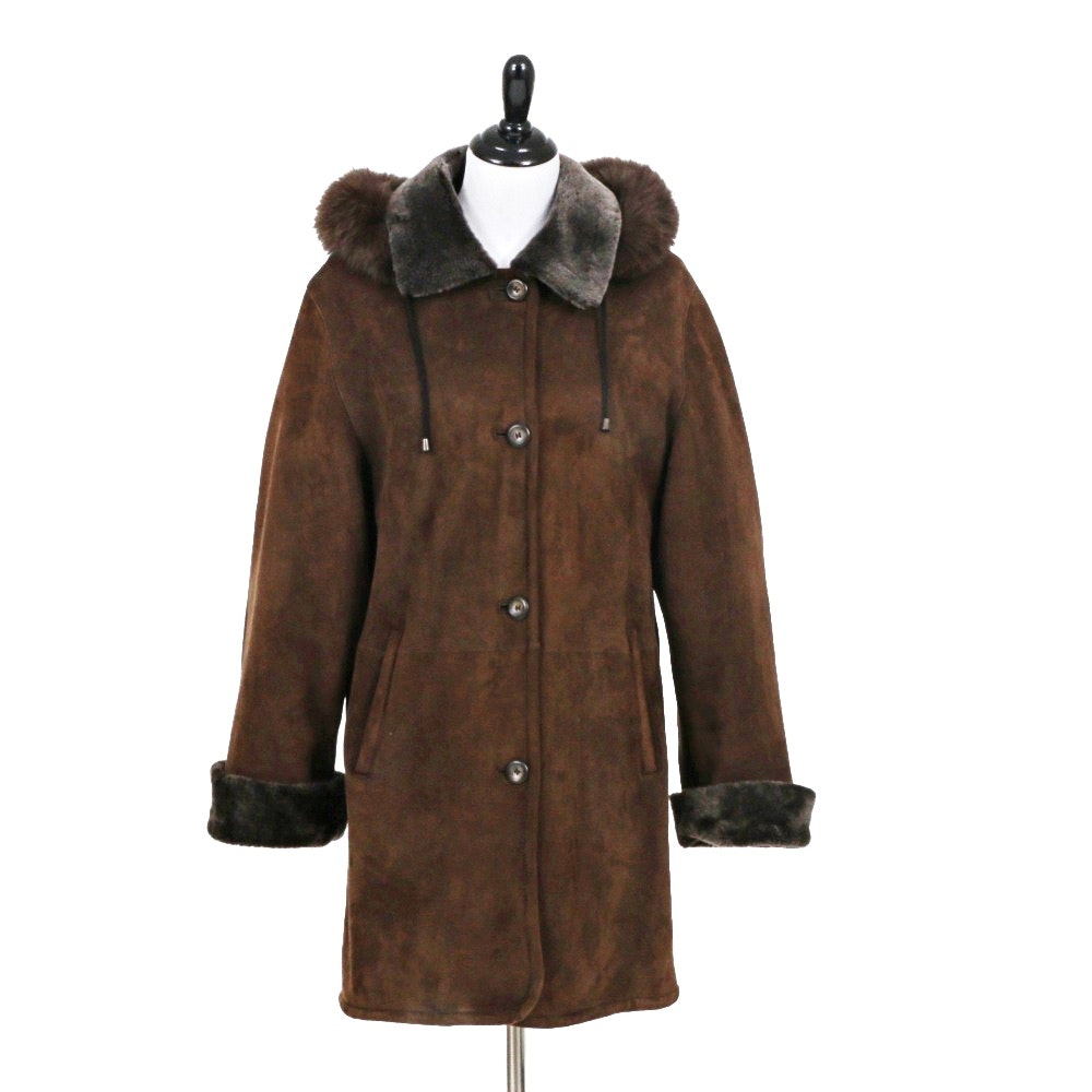 Ladies Chocolate Brown Lambskin Shearling Jacket with Removable Hood