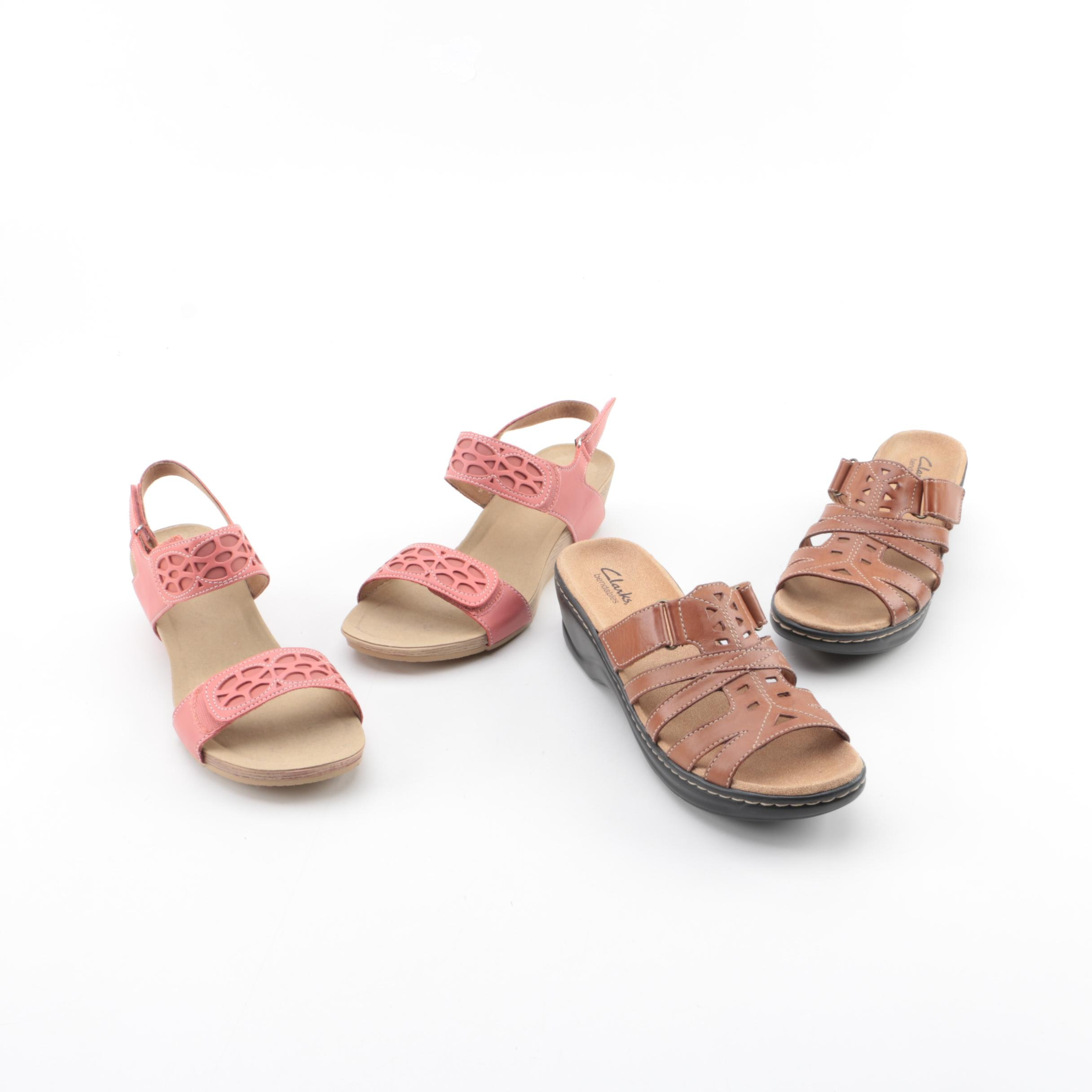 Womens Clarks Bendables Leather Sandals