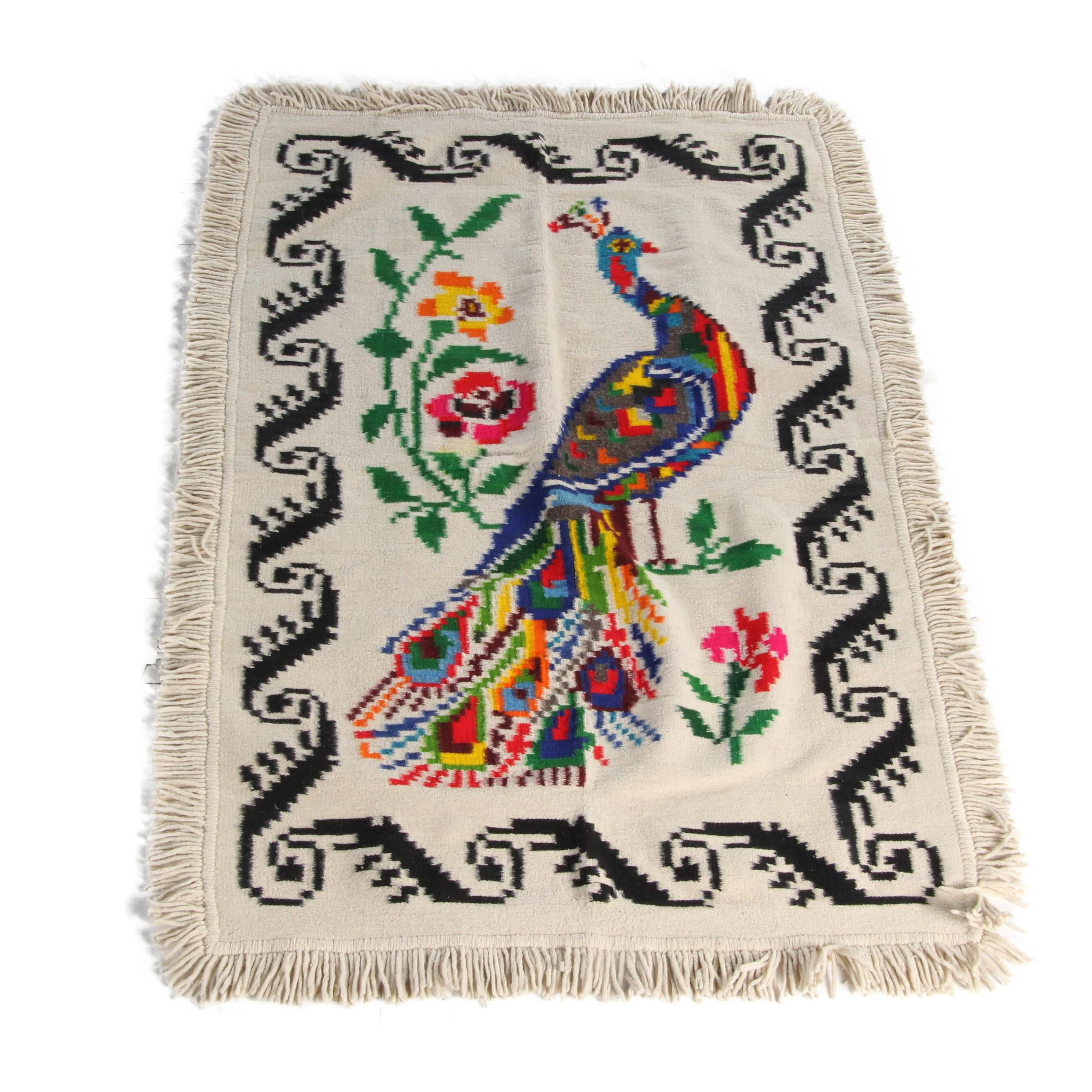 Handwoven Pictorial Wool Area Rug/Blanket