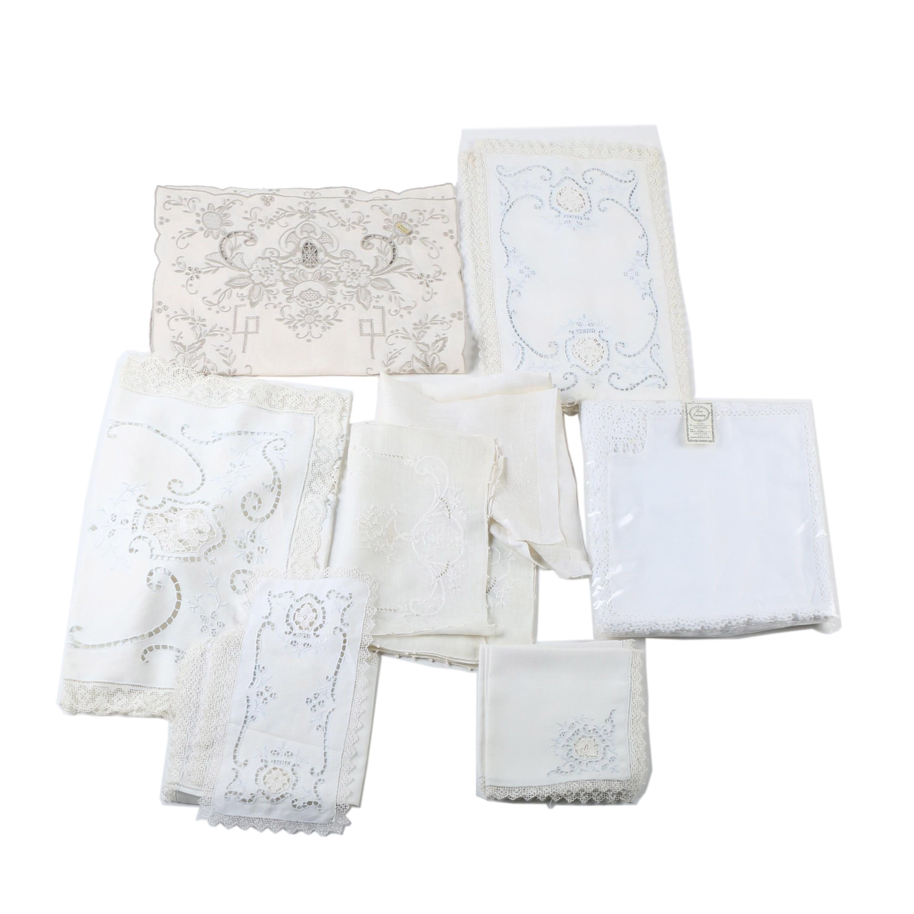 Vintage Embroidered and Lace Linens and Napkins