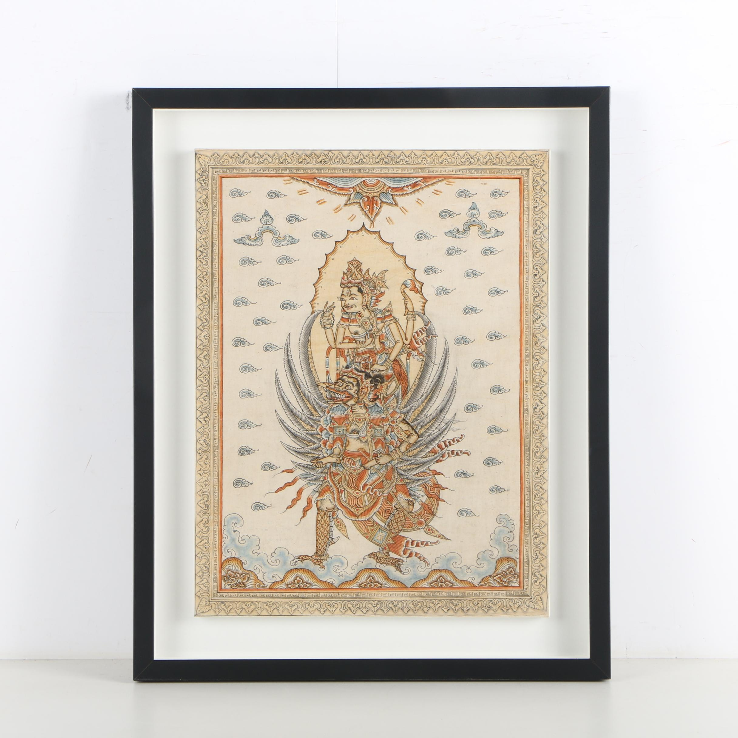 Southeast Asian Ink and Watercolor Painting of Vishnu and Garuda