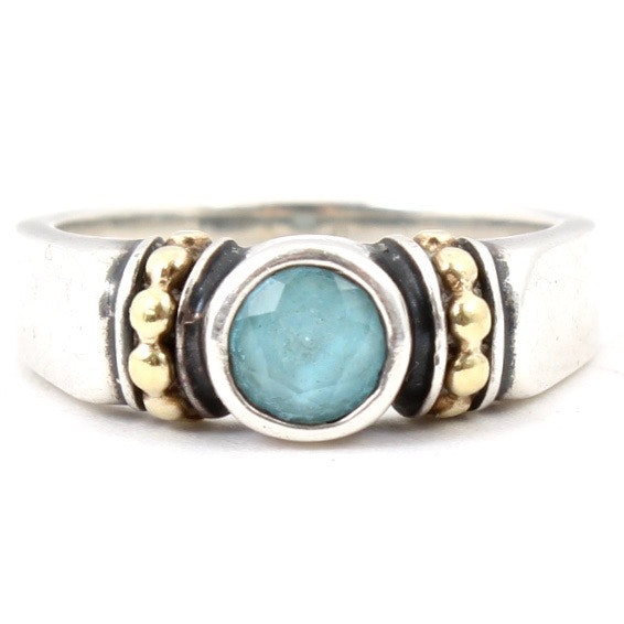 Caviar Sterling Silver and 18K Yellow Gold Blue Topaz Ring